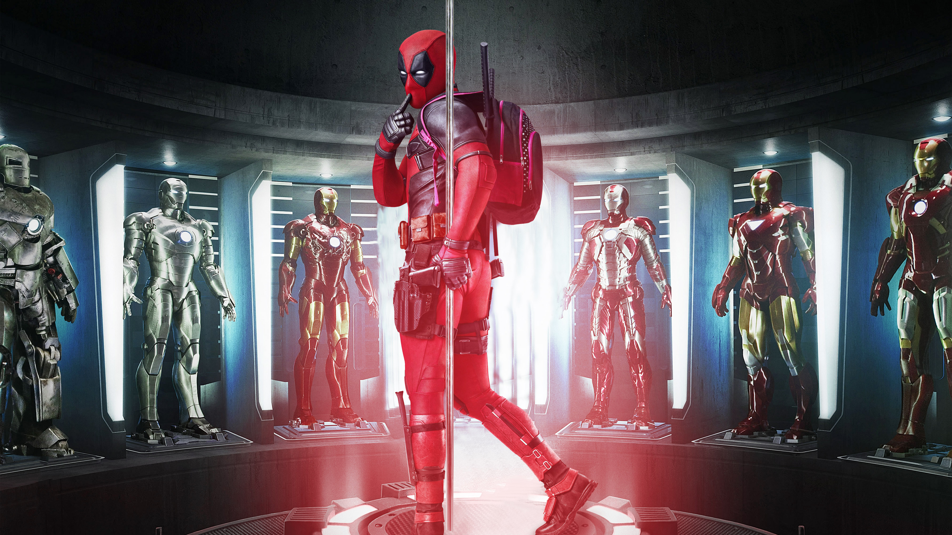 Wallpaper Deadpool with Iron Man's Armors Fanart