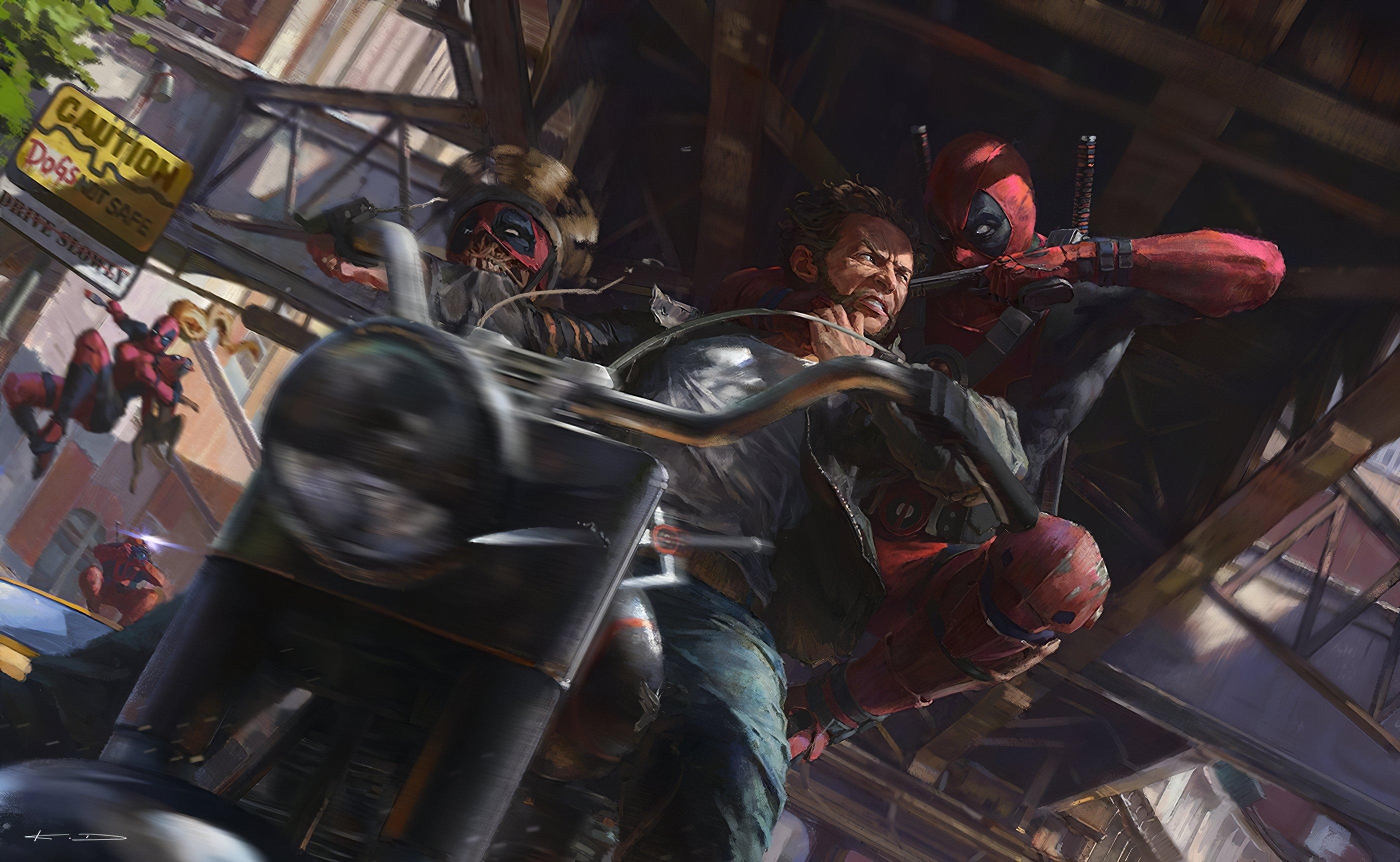Fondos de pantalla Deadpool en pelea con Wolverine en motocicleta