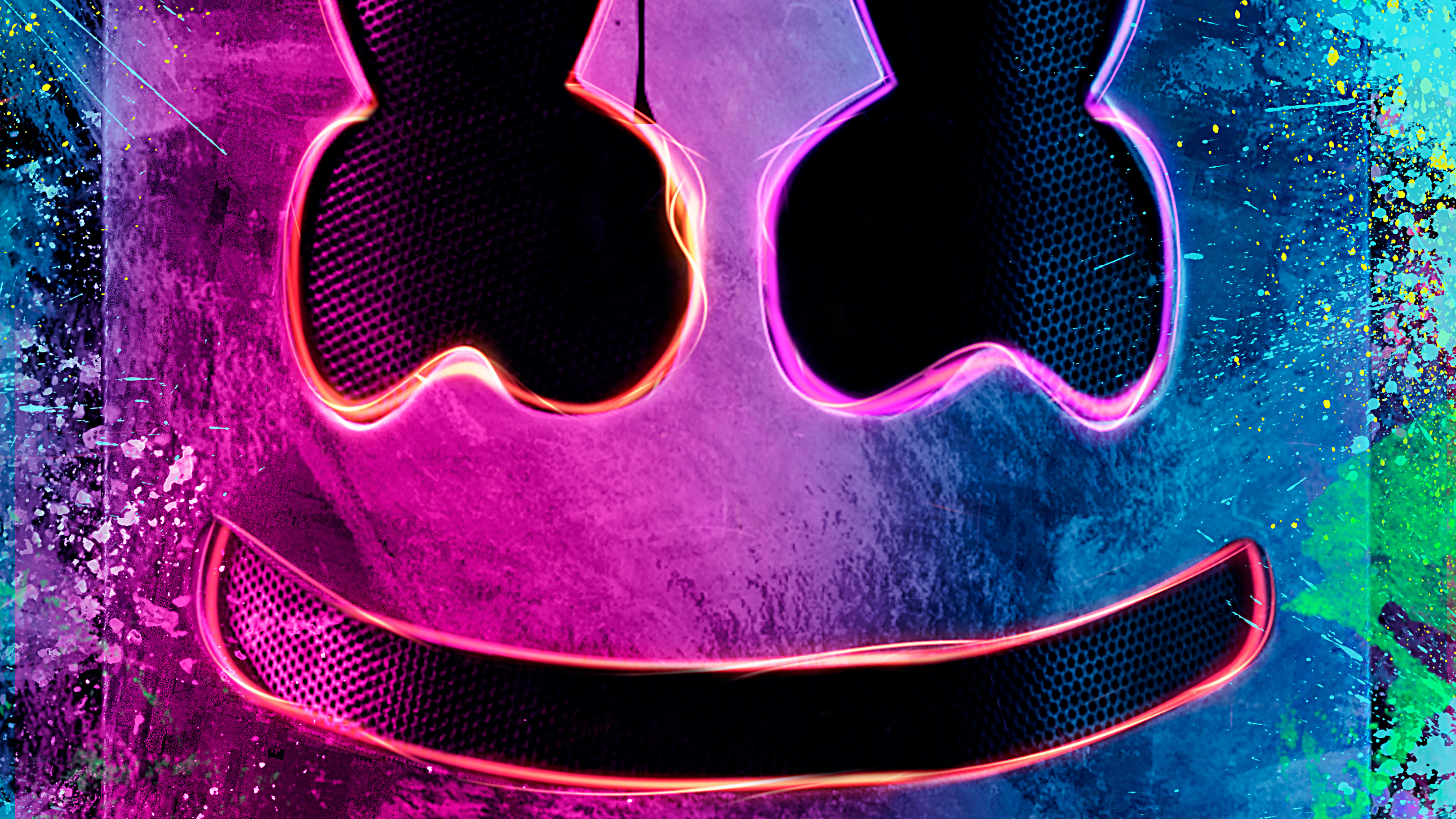 Fondos de pantalla DJ Marshmello Pintura y luces neón