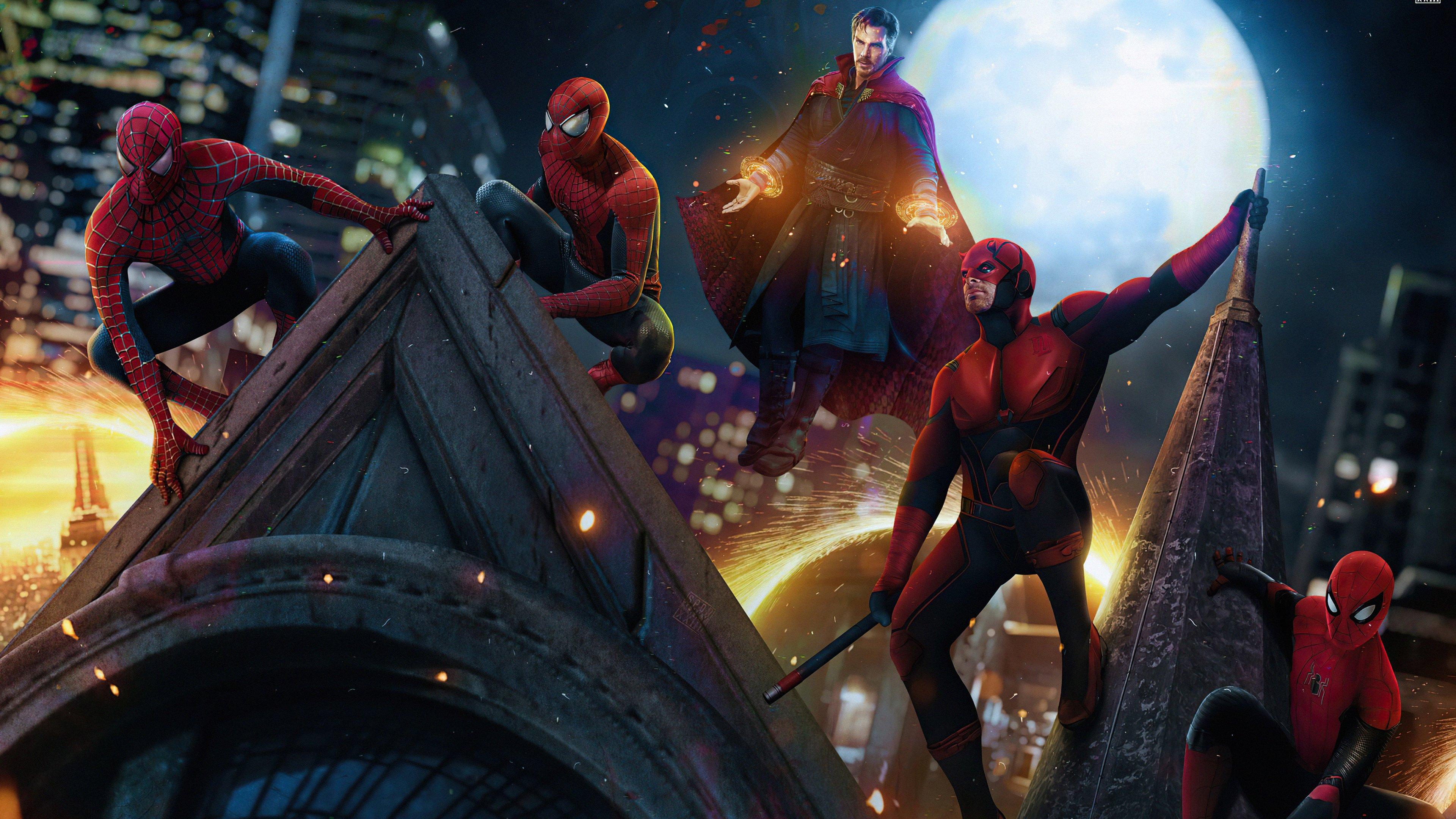 Fondos de pantalla Doctor Strange, Daredevil y Hombres araña en No Way Home