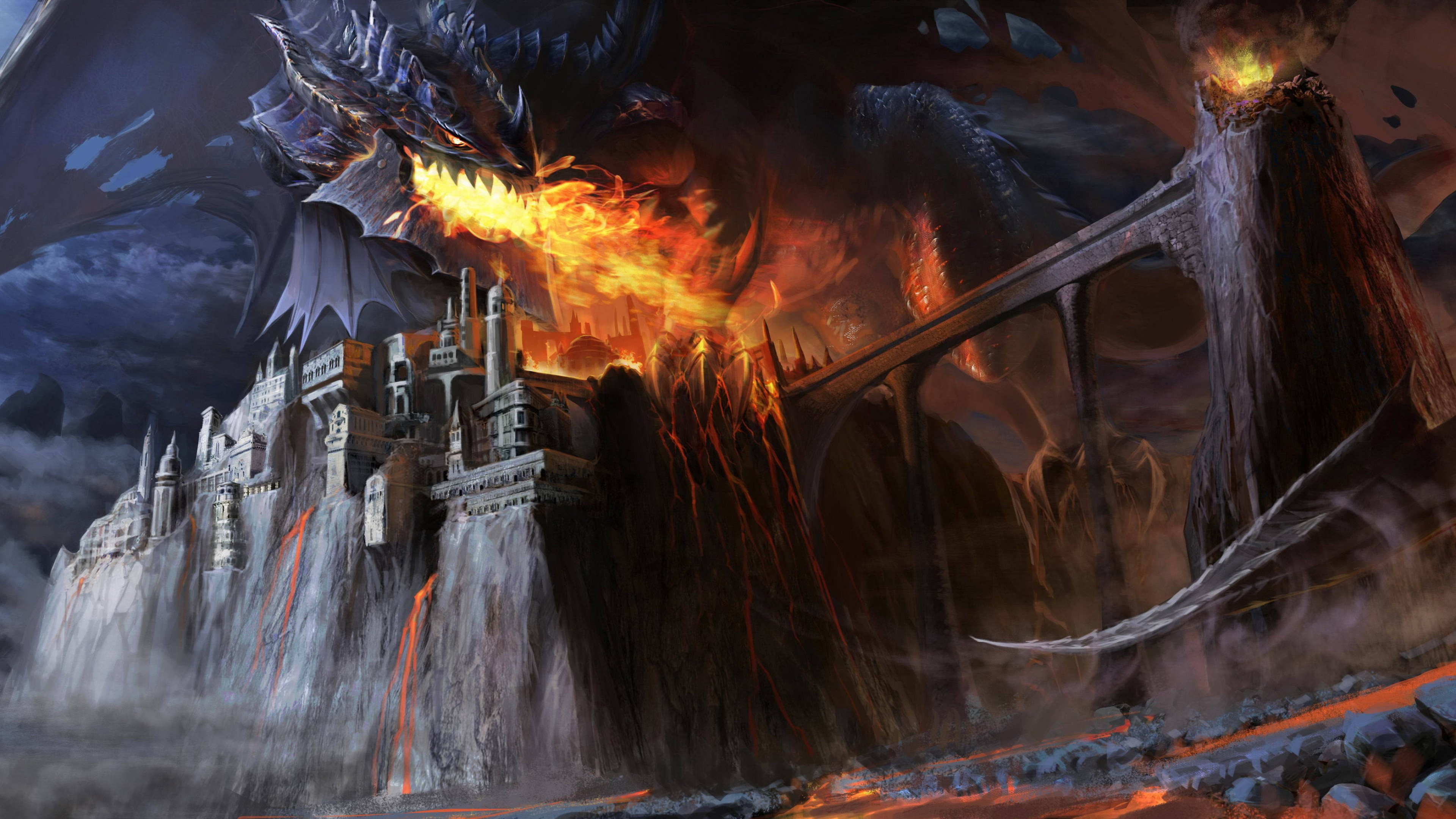 Wallpaper Dragon attacking castle