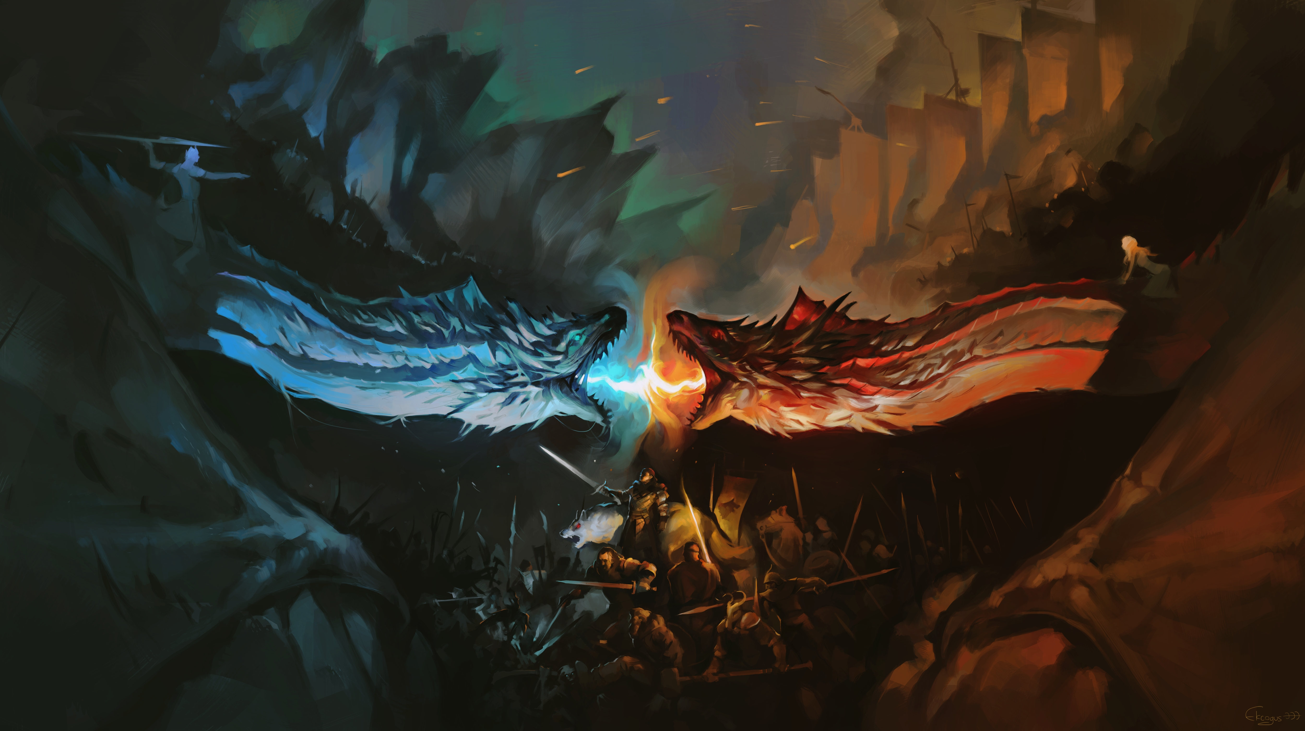 Wallpaper Dragon Battle Fire Vs Ice Game Of Thrones