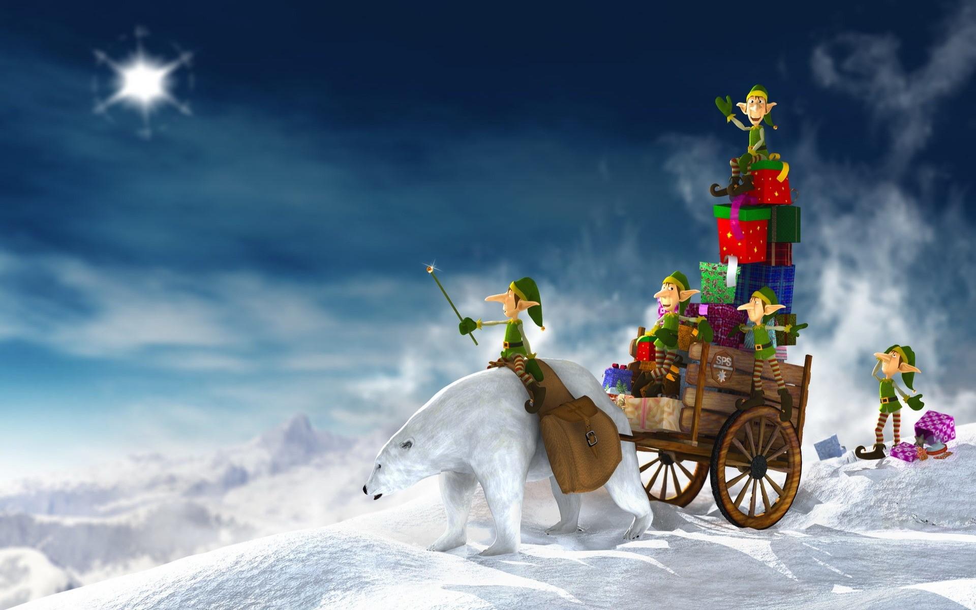 Wallpaper Elves delivering Christmas gifts