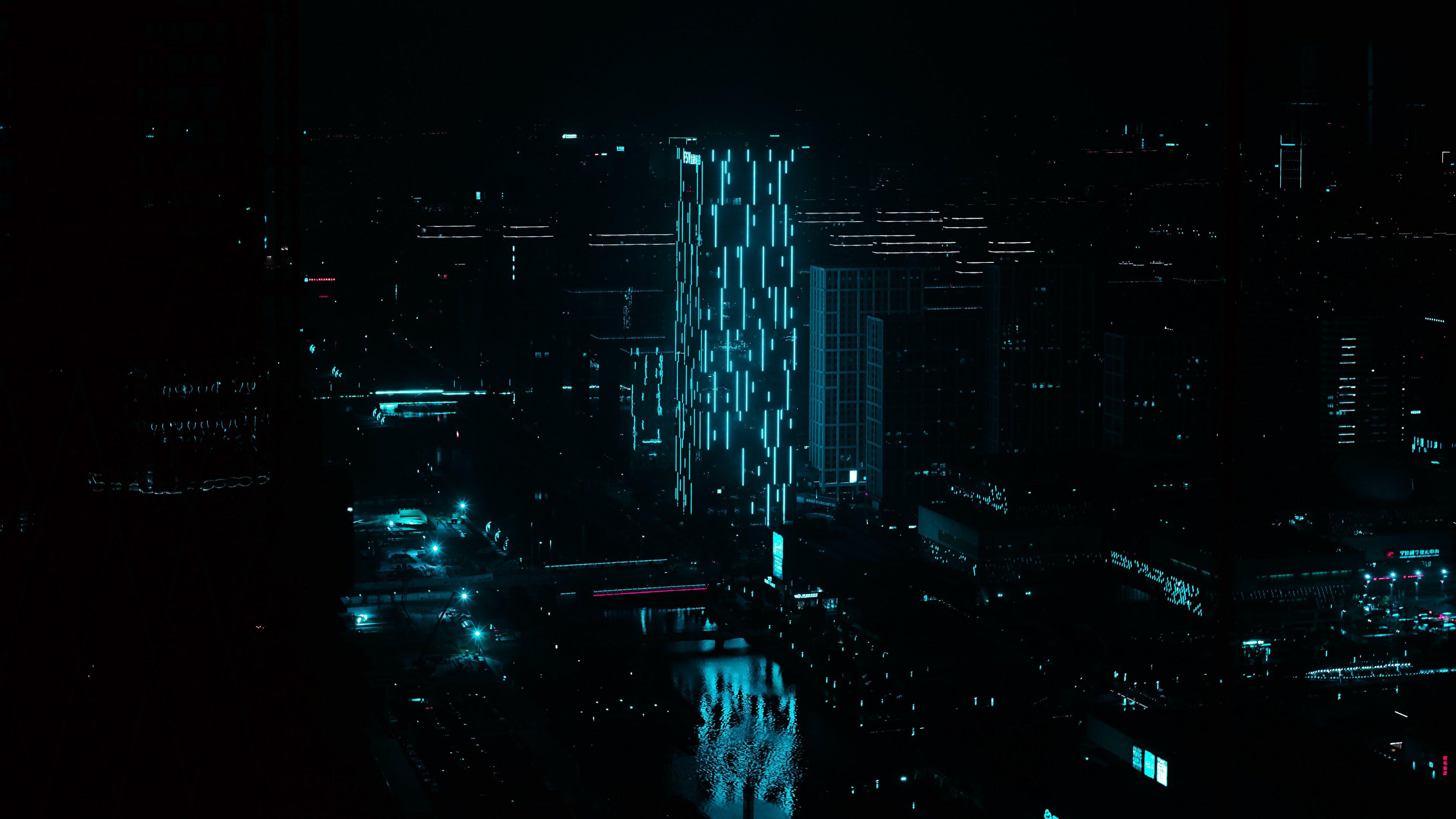 Fondos de pantalla Edificios en Ciudad de noche con iluminación neón azul