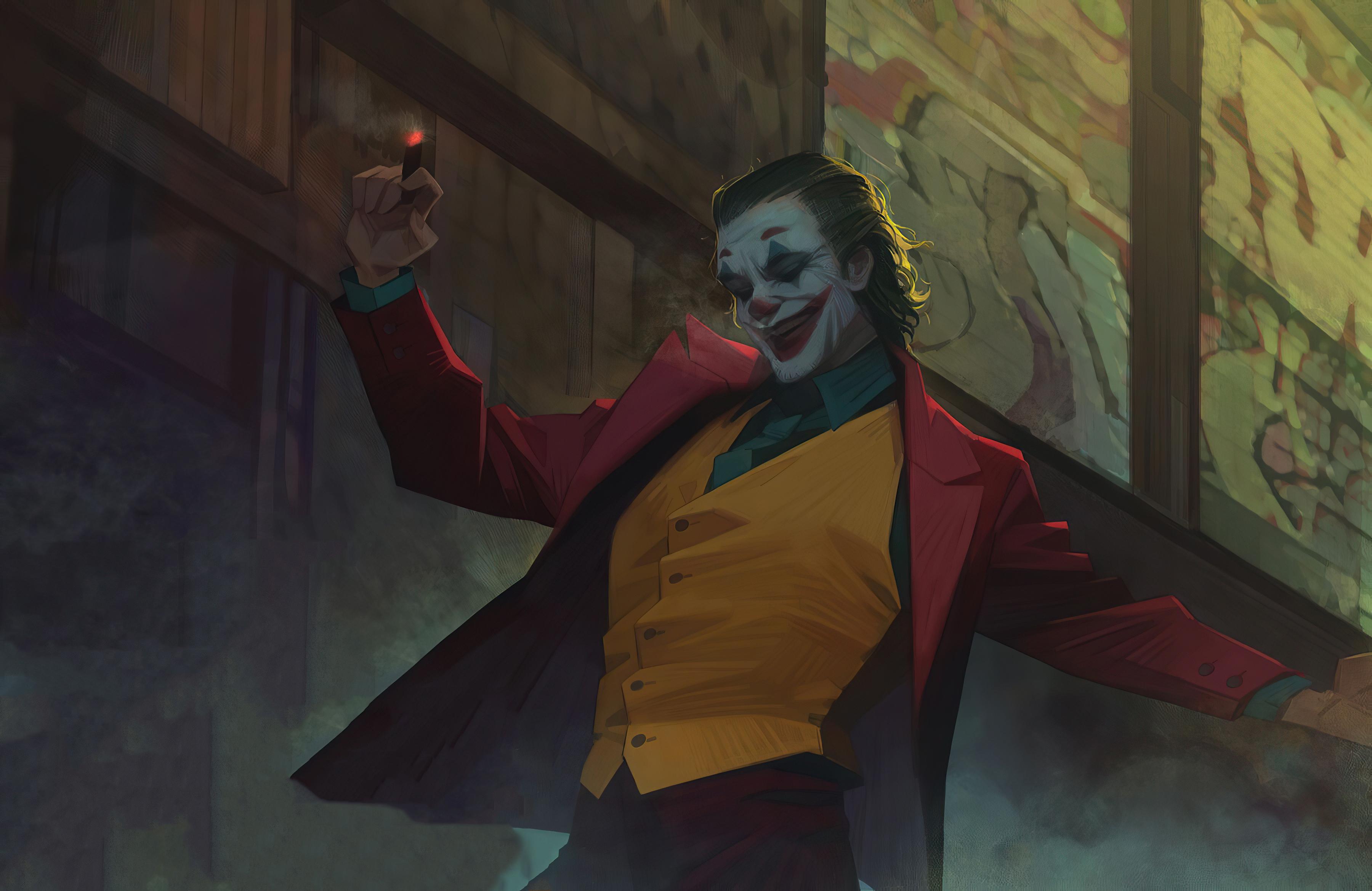 Wallpaper Joker dancing in stairs
