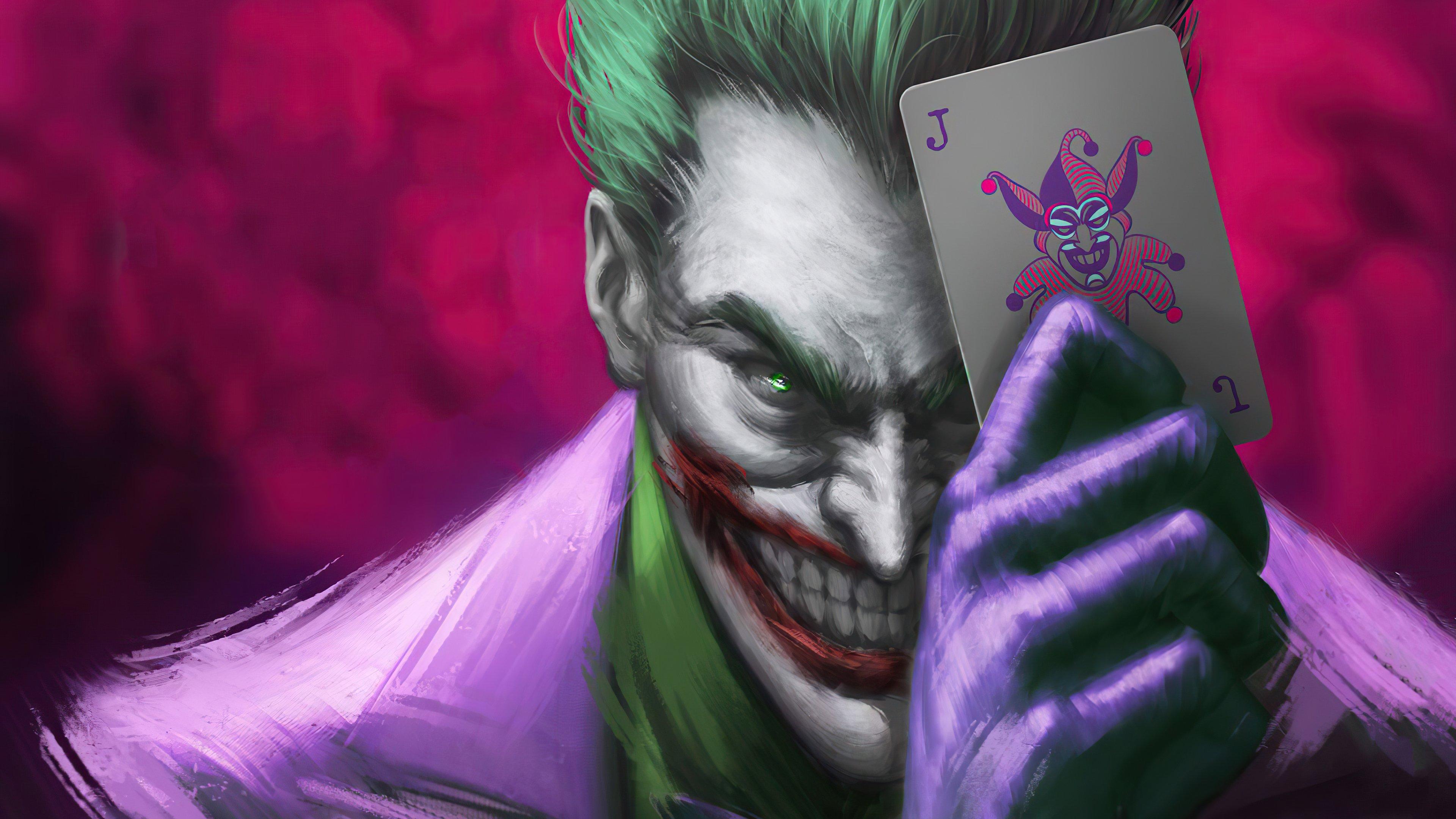 Fondos de pantalla El guasón con carta joker