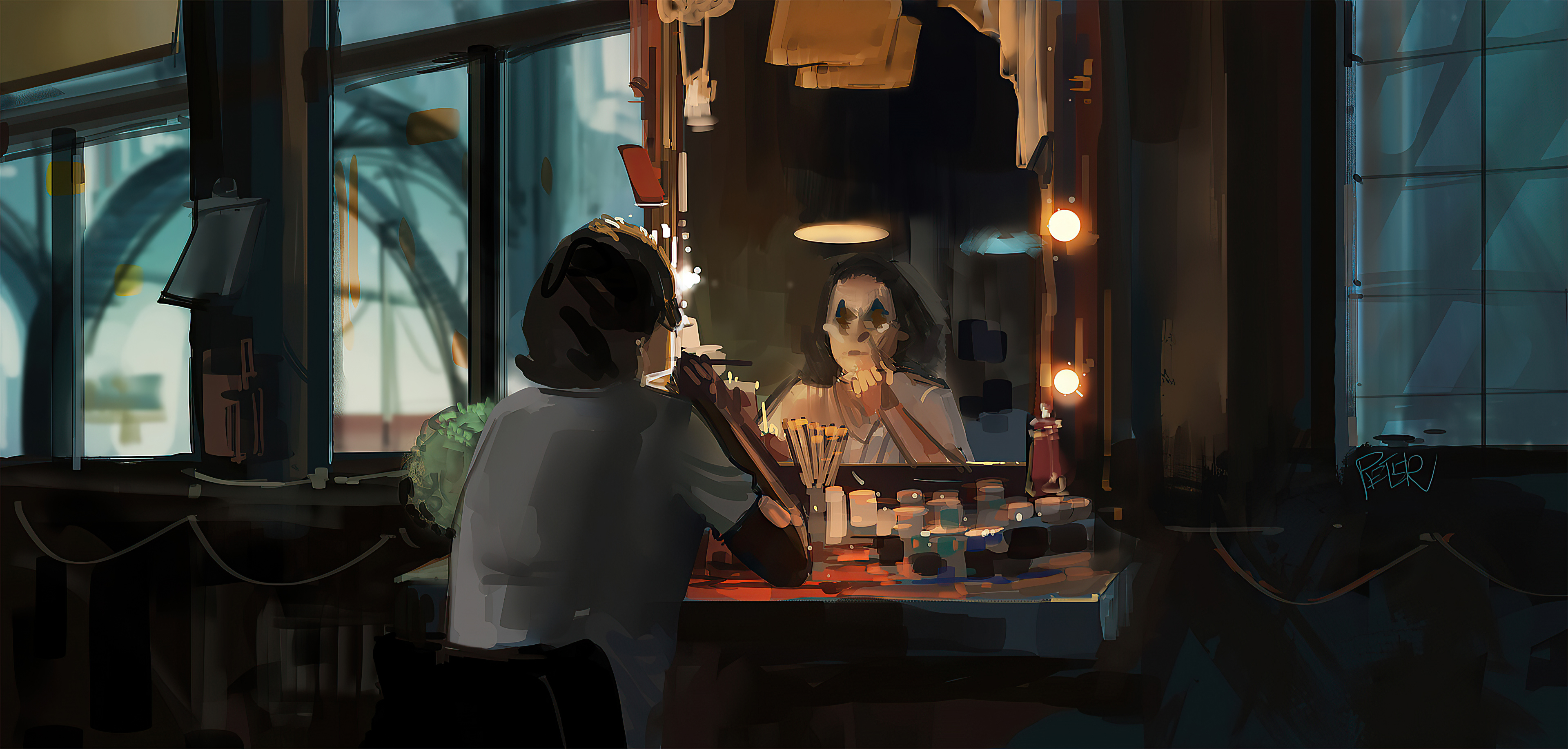 Fondos de pantalla El Guasón maquillandose Artwork