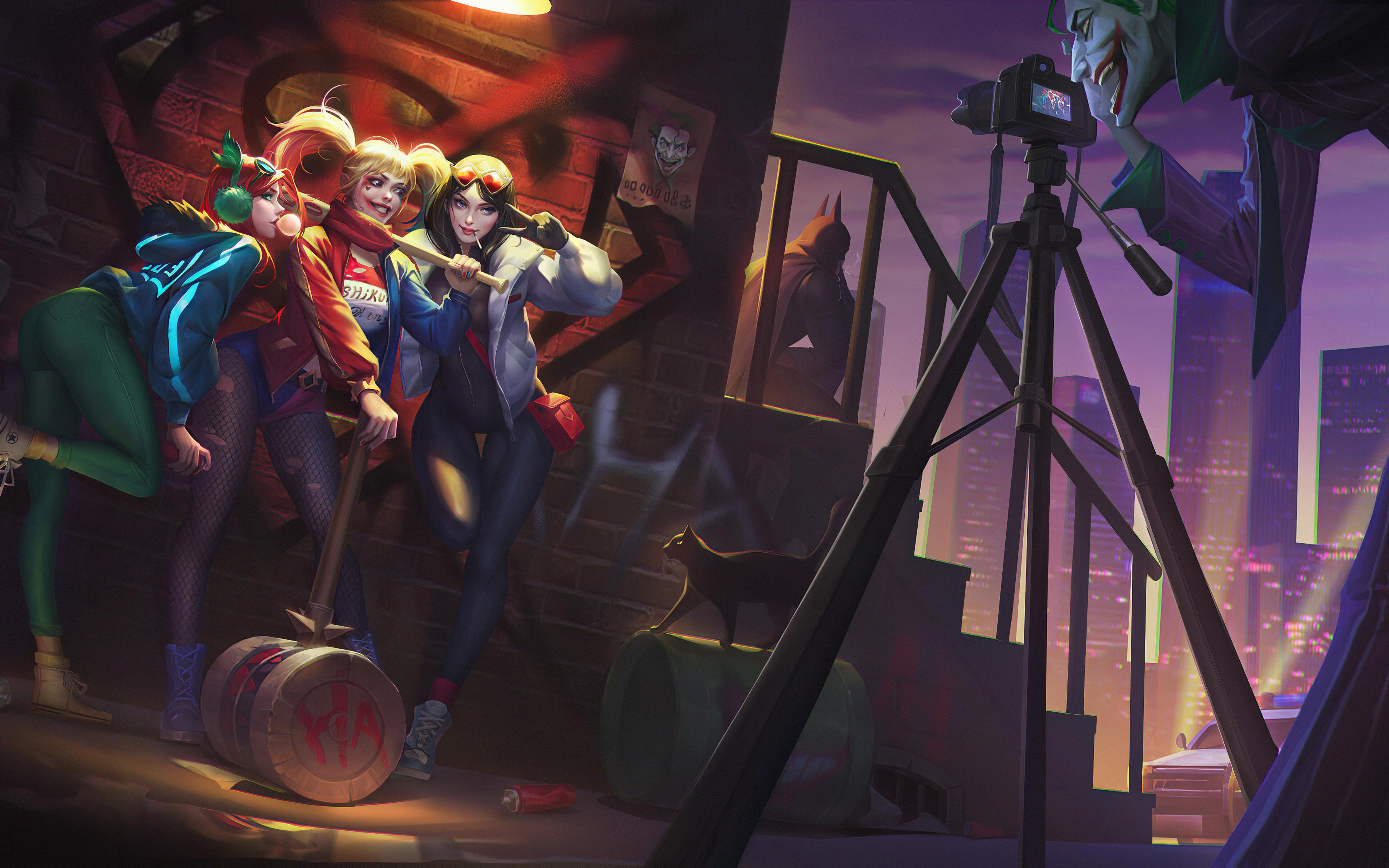 Fondos de pantalla El Guasón tomando una foto a Harley Quinn y amigas