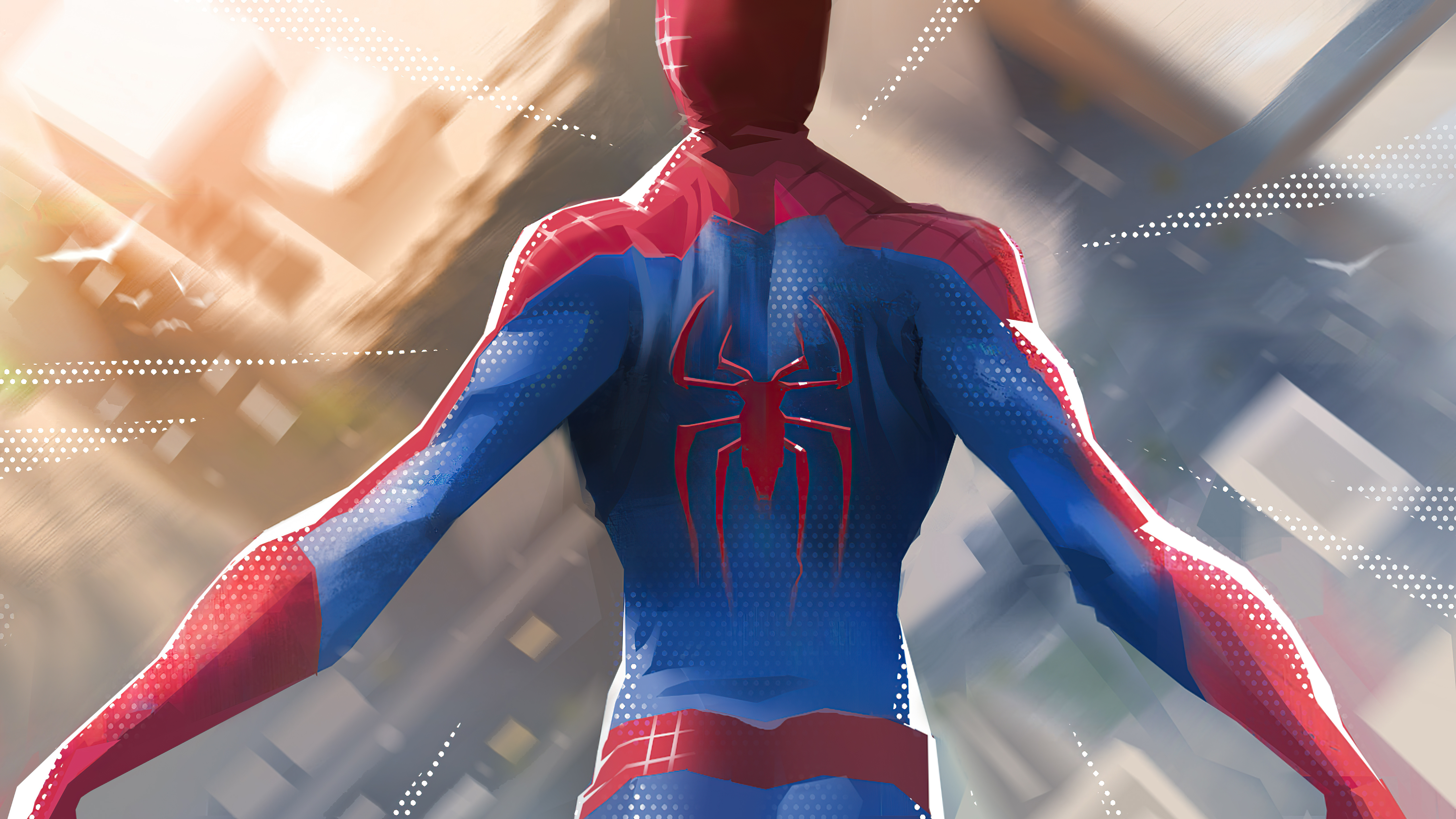 Wallpaper Spiderman jumping out of buildings