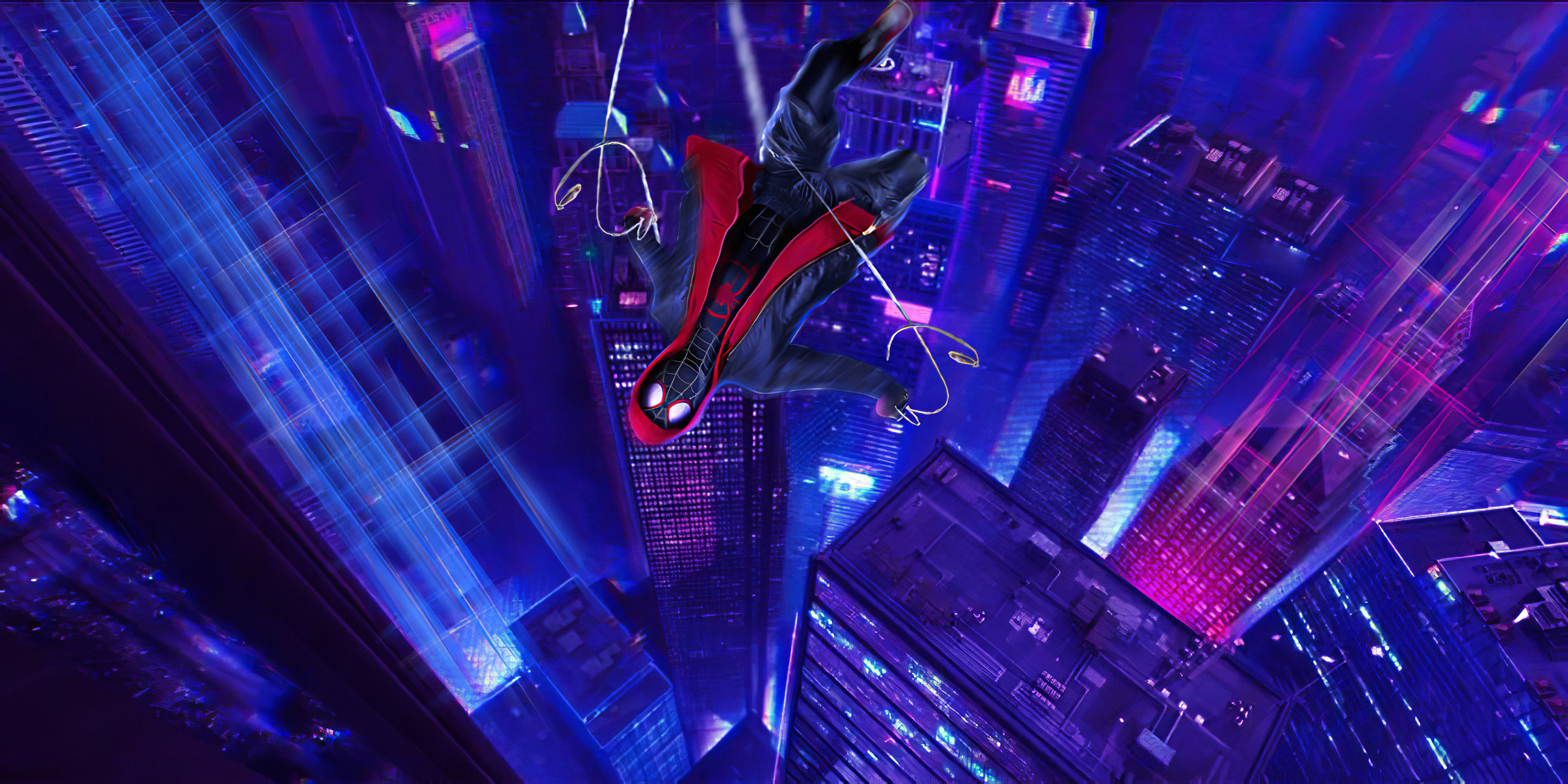 Fondos de pantalla El hombre araña cayendo en edificios