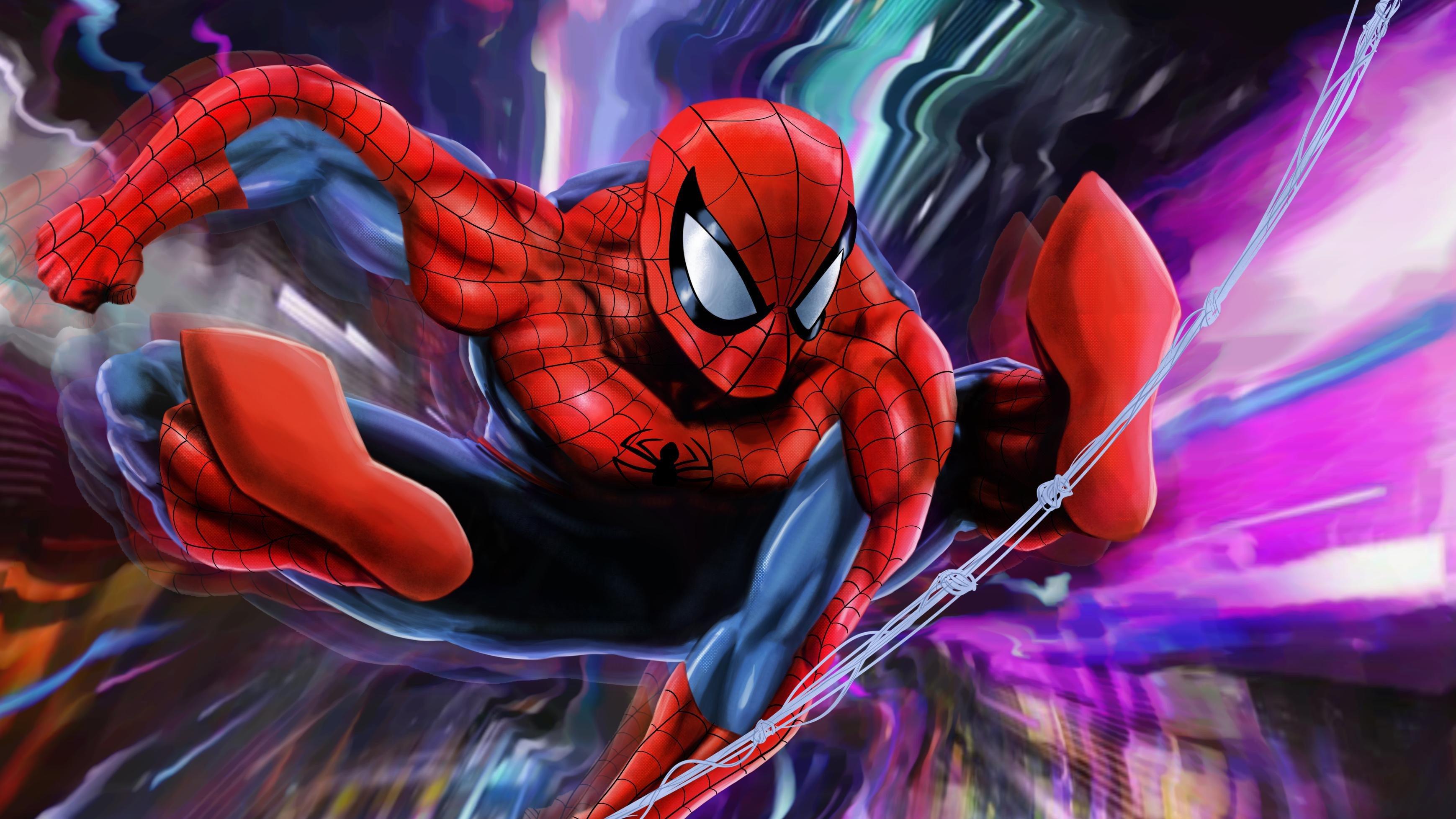 Fondos de pantalla El hombre araña con fondo colorido