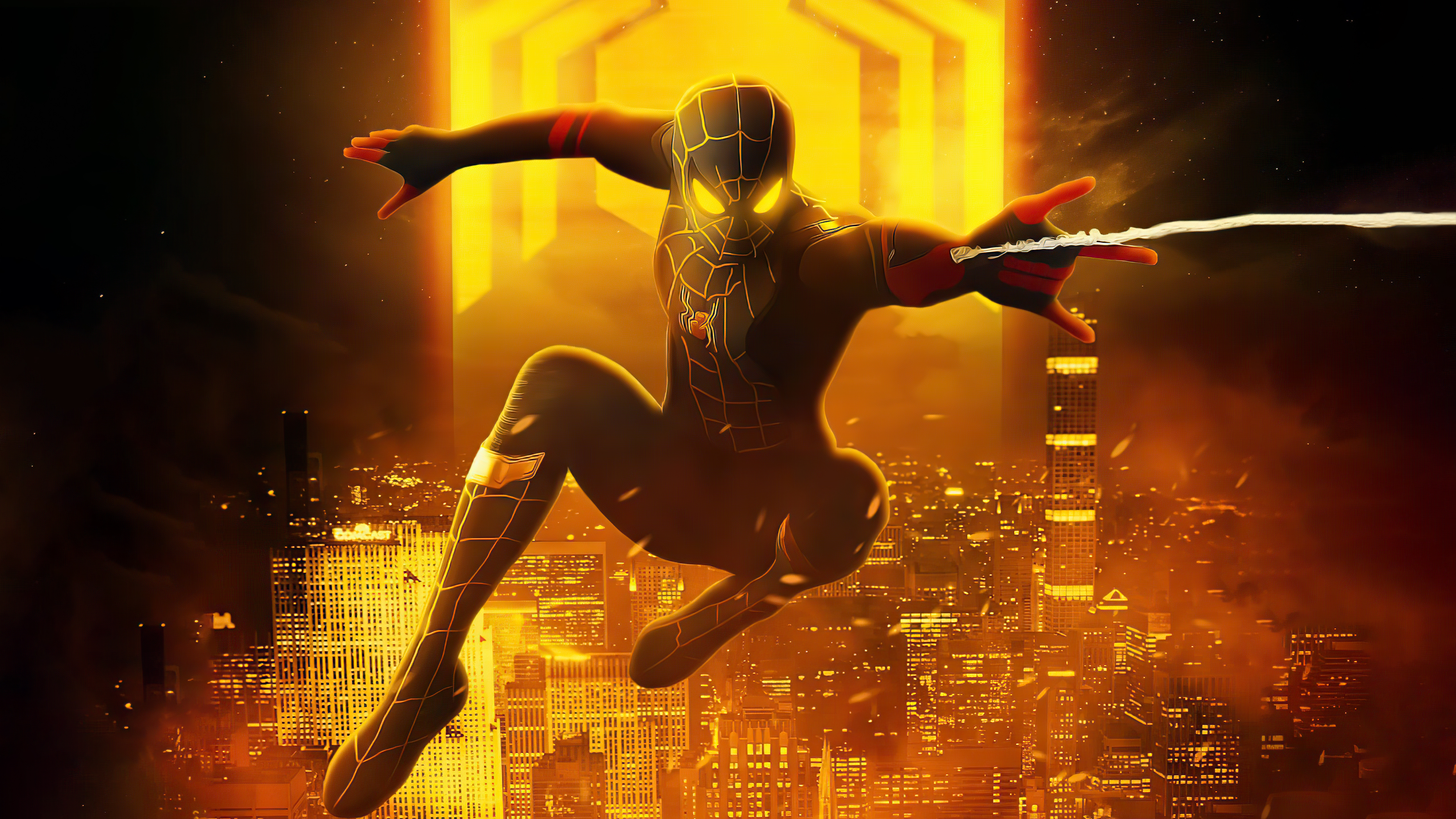 Wallpaper Spider Man with black and gold suit