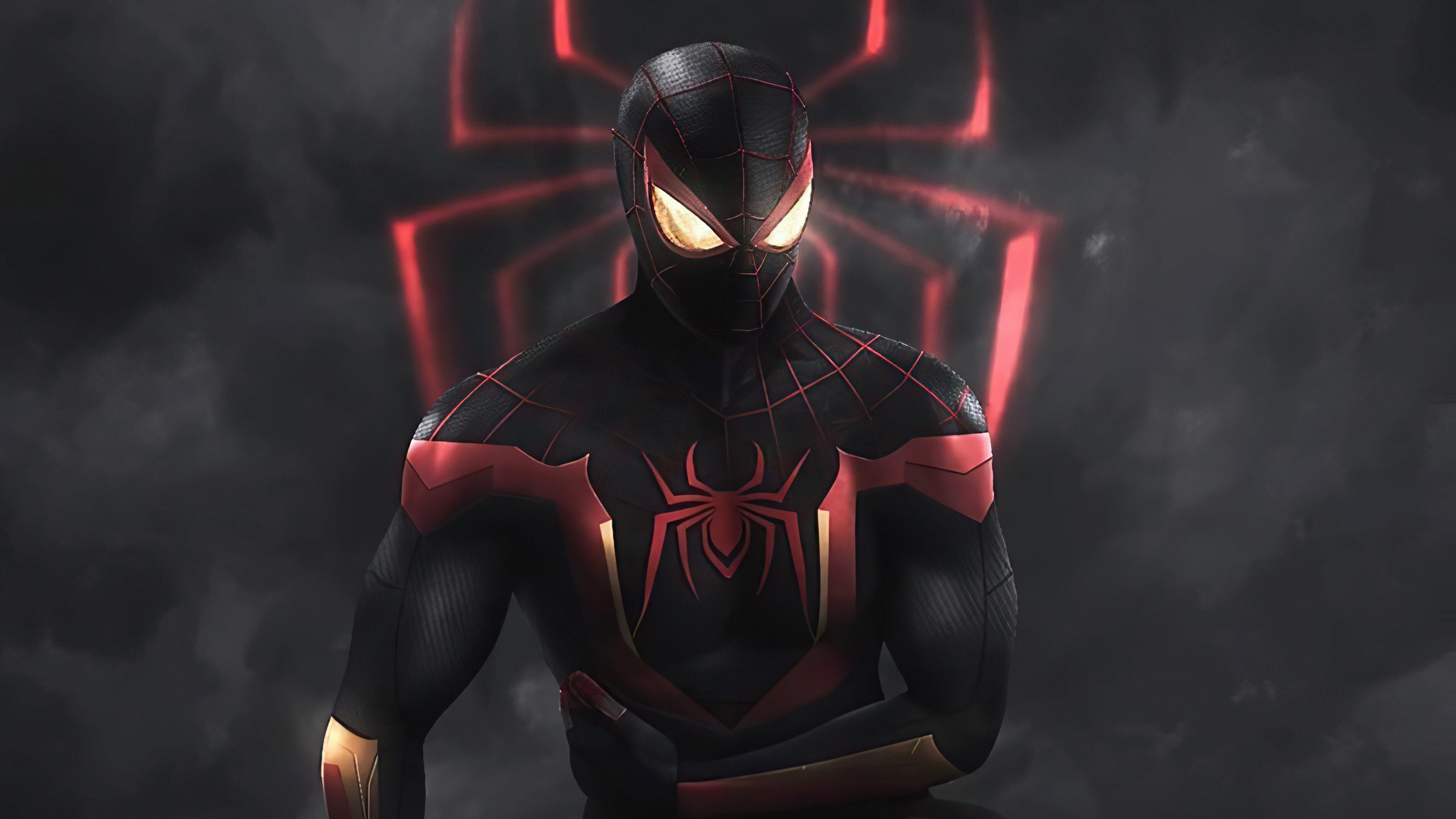 Fondos de pantalla El hombre araña con traje negro y rojo