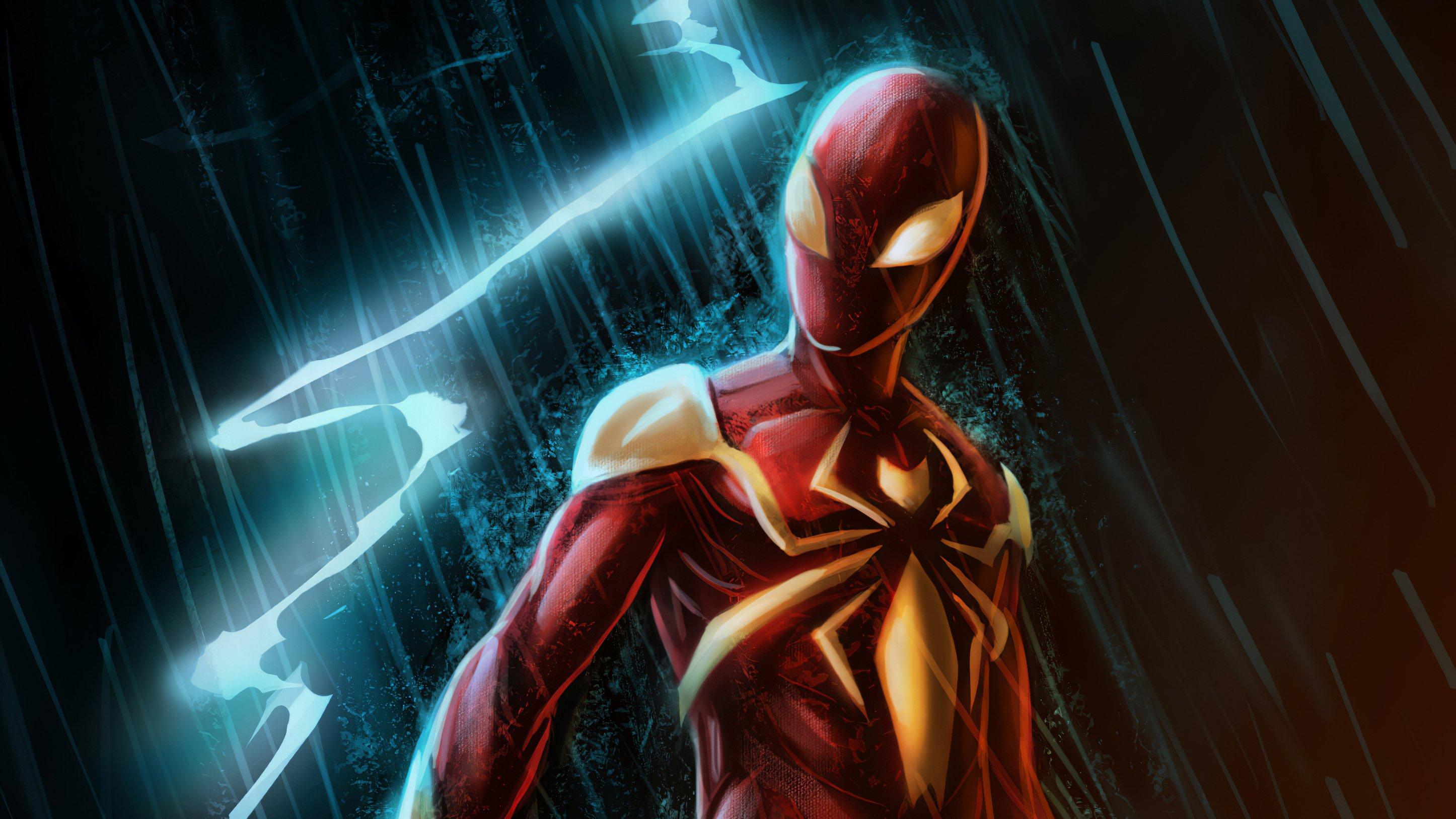 Fondos de pantalla El hombre araña con traje rojo y dorado