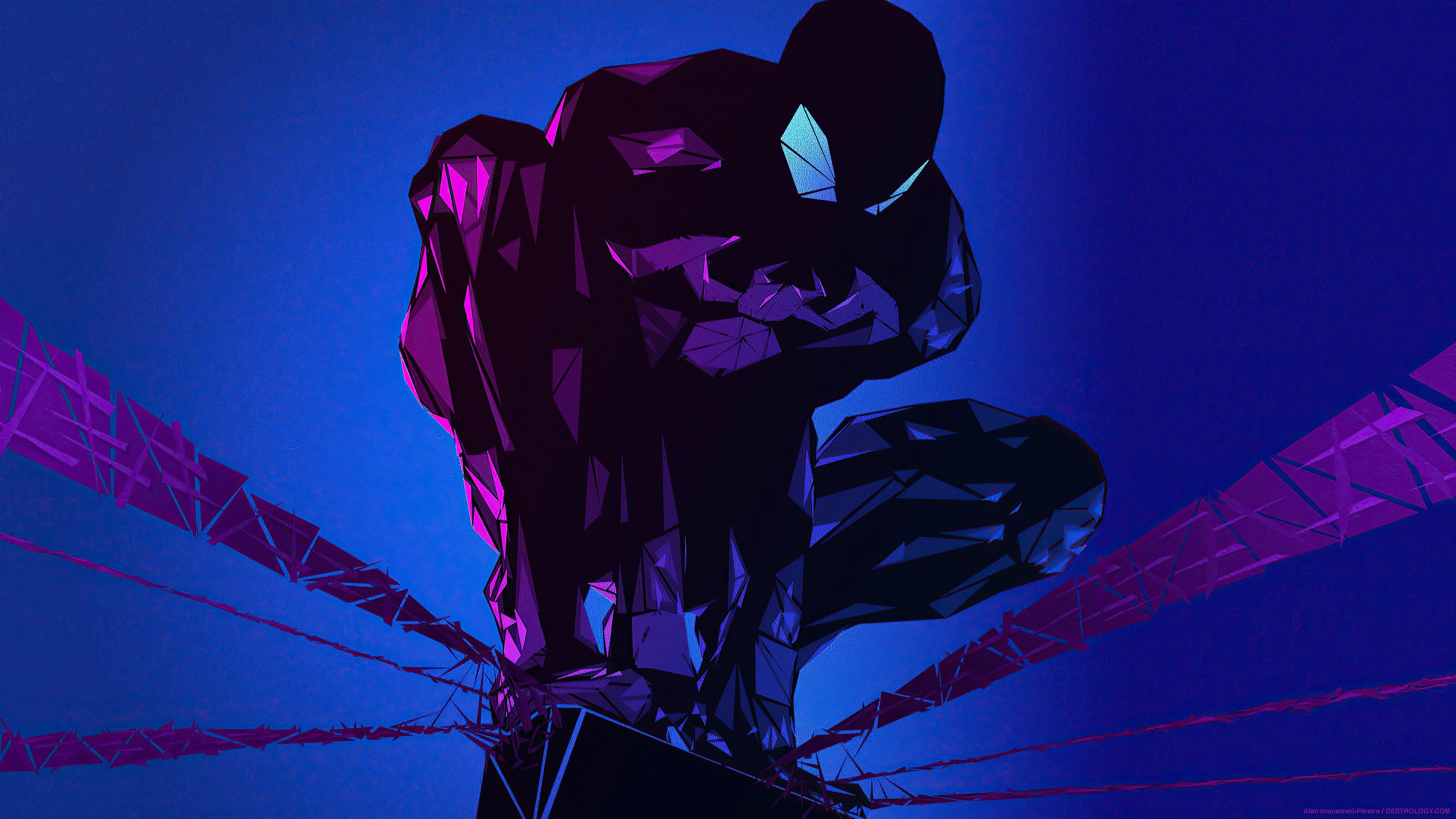 Fondos de pantalla El hombre araña hecho de poligonos