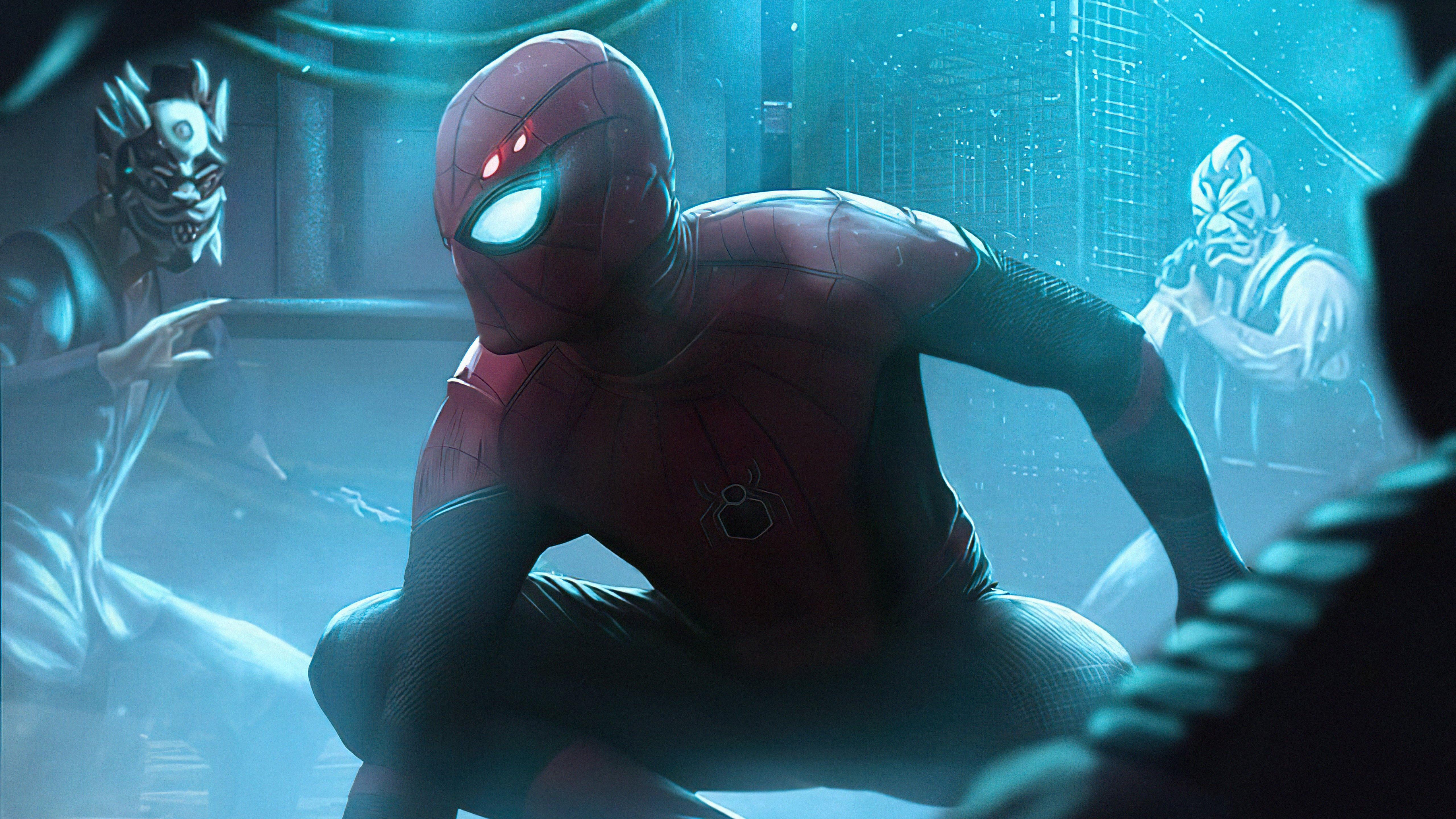 Wallpaper Spider man Neon Glowing World