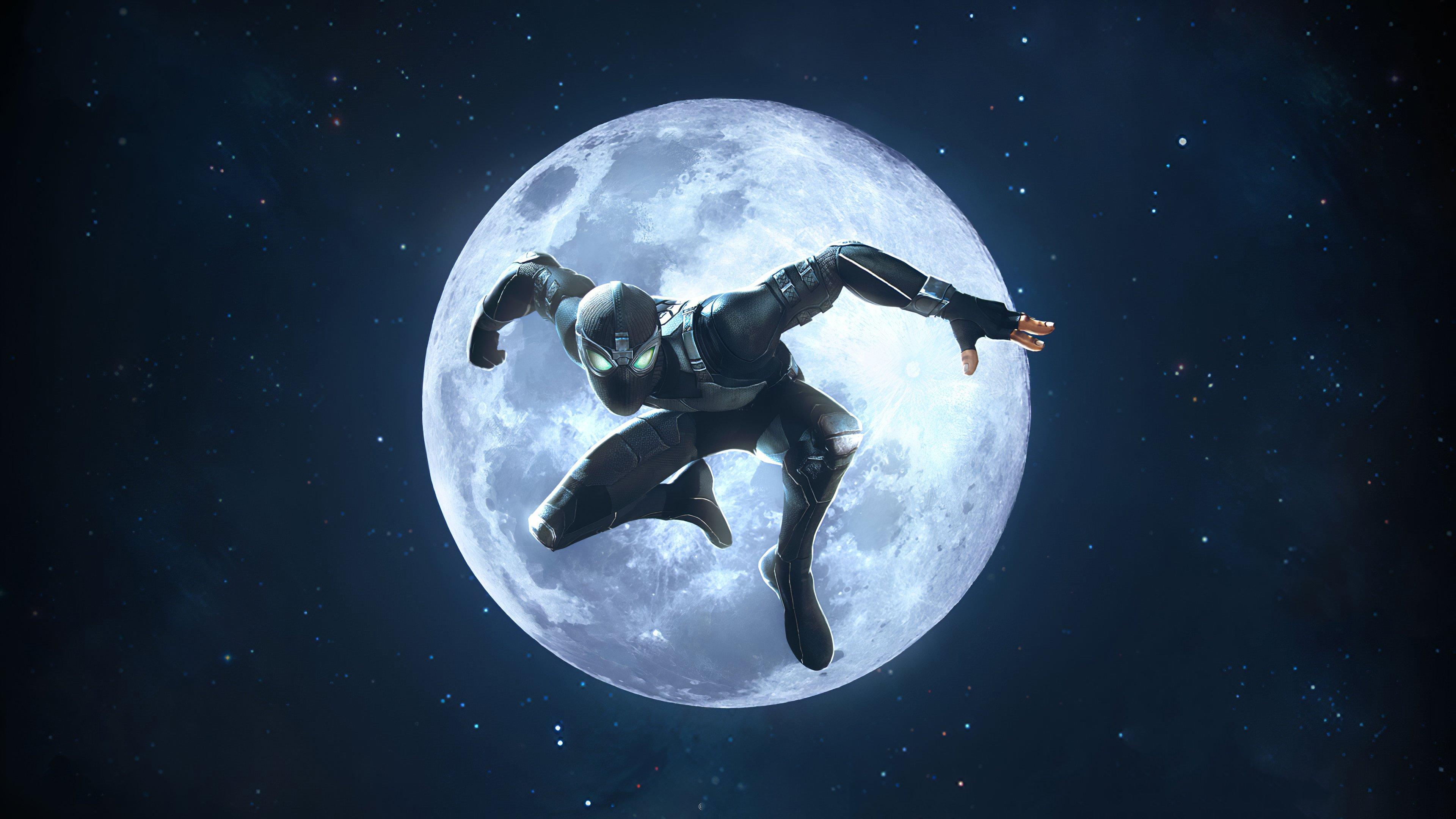 Fondos de pantalla El hombre araña traje negro en la luna