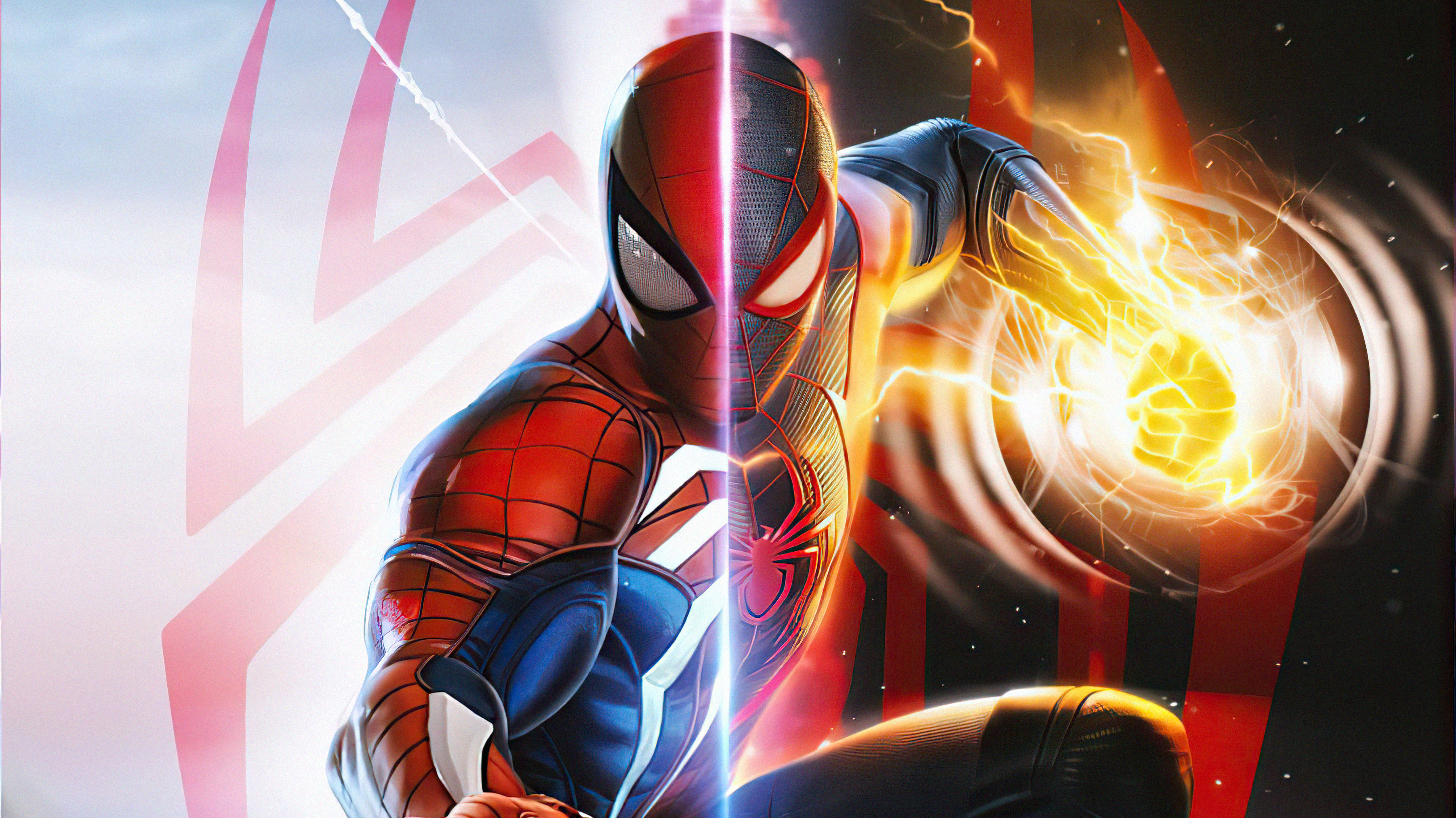 Wallpaper Spiderman and Miles Morales