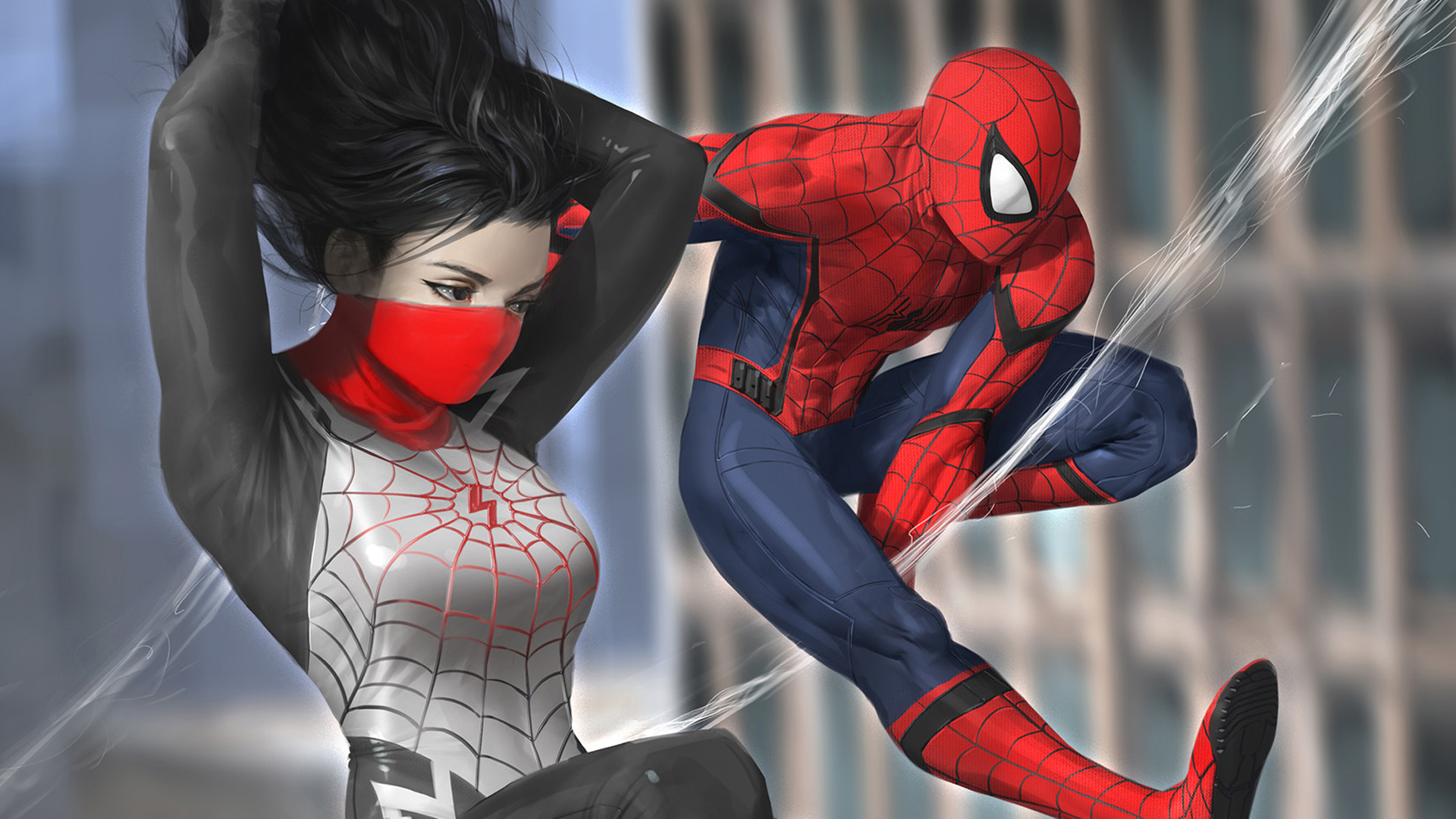 Wallpaper Spiderman and Silk