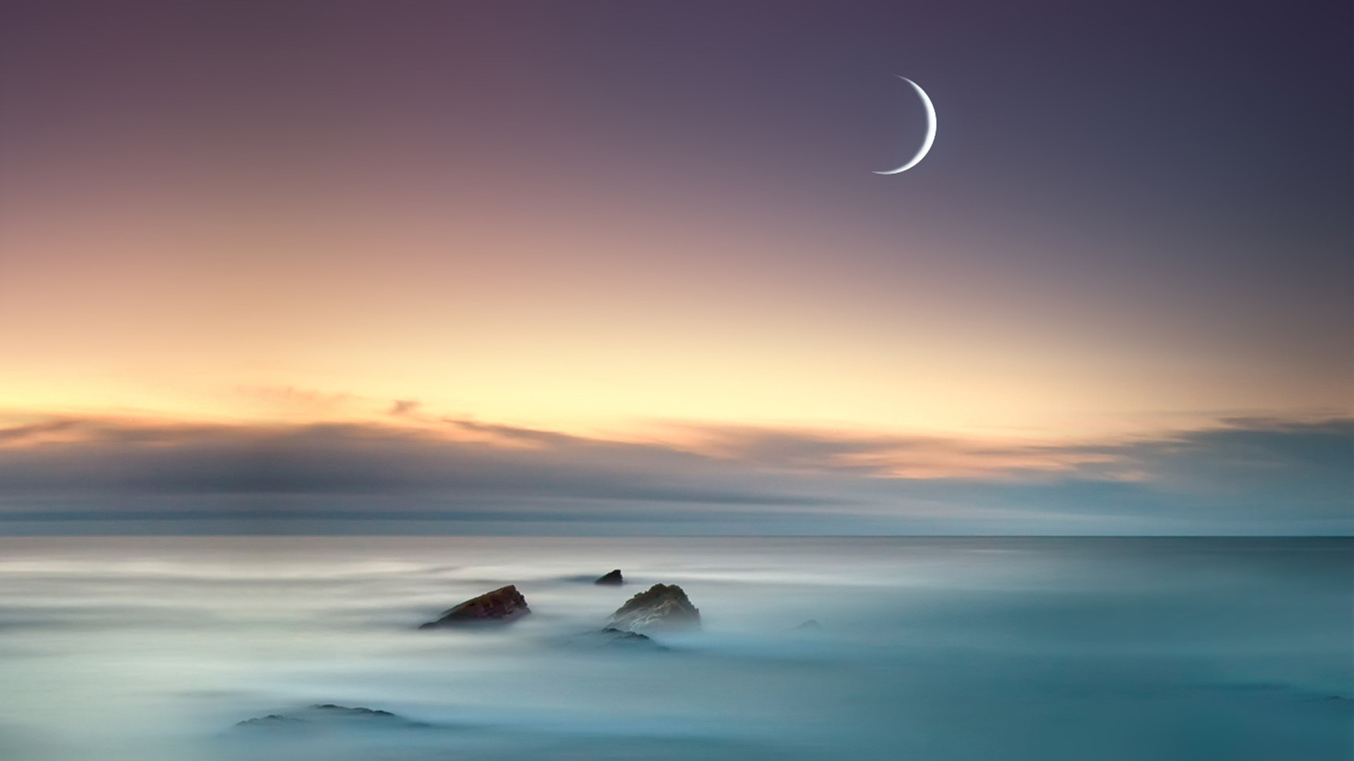 Wallpaper The sea and the moon