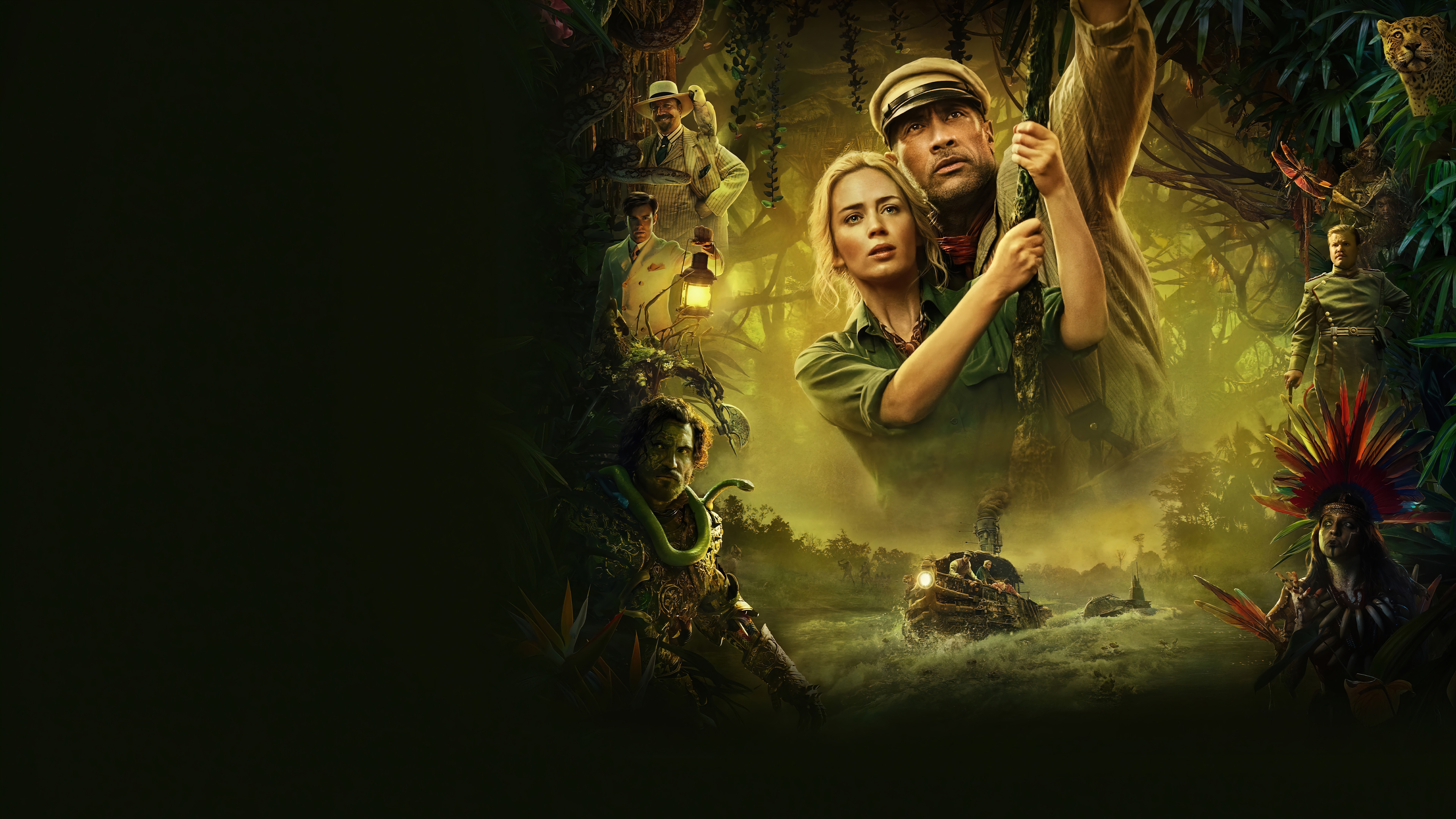 Wallpaper Emily Blunt and Dwayne Johnson in Jungle Cruise