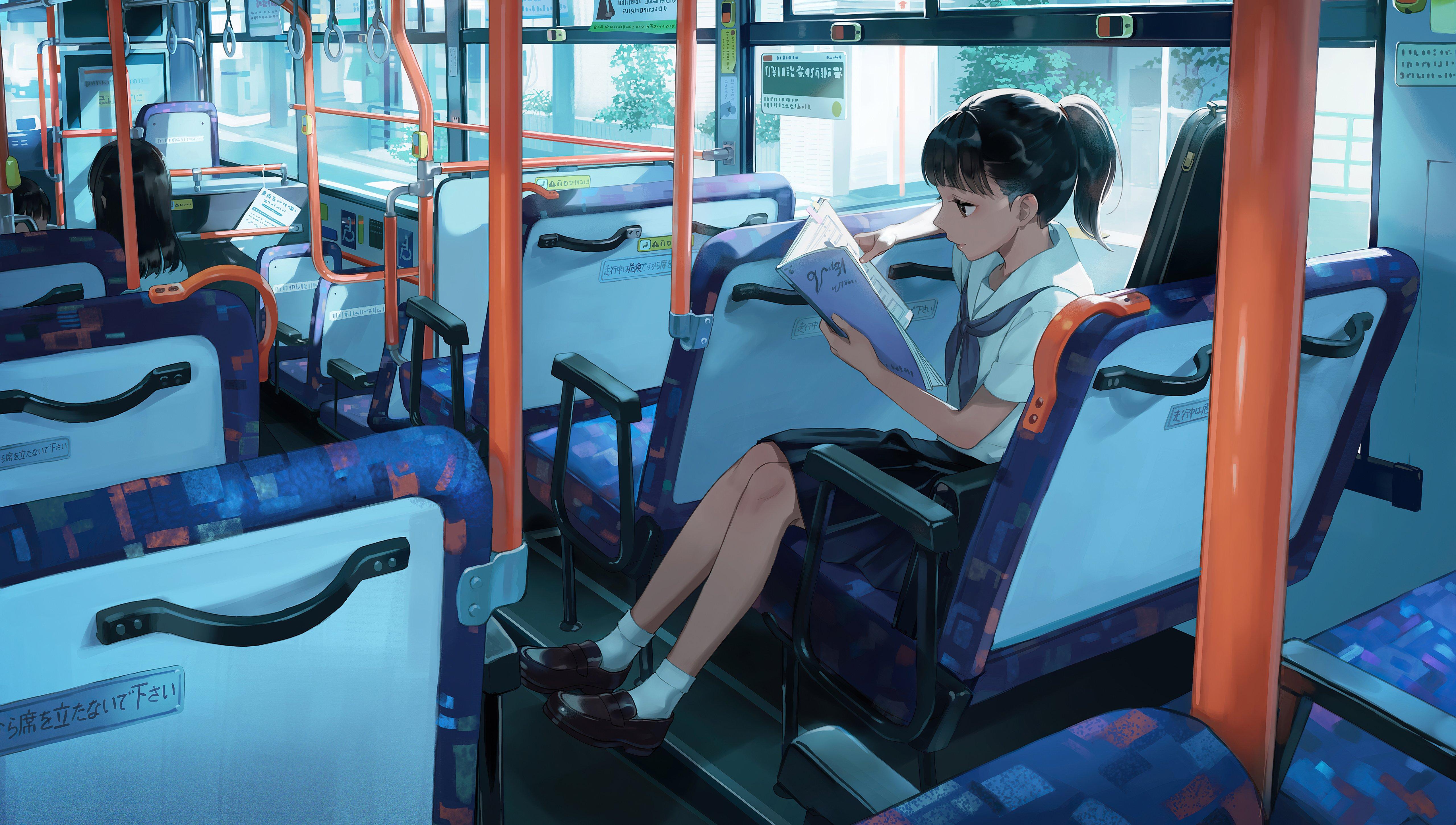 Fondos de pantalla Anime Estudiante en bus leyendo