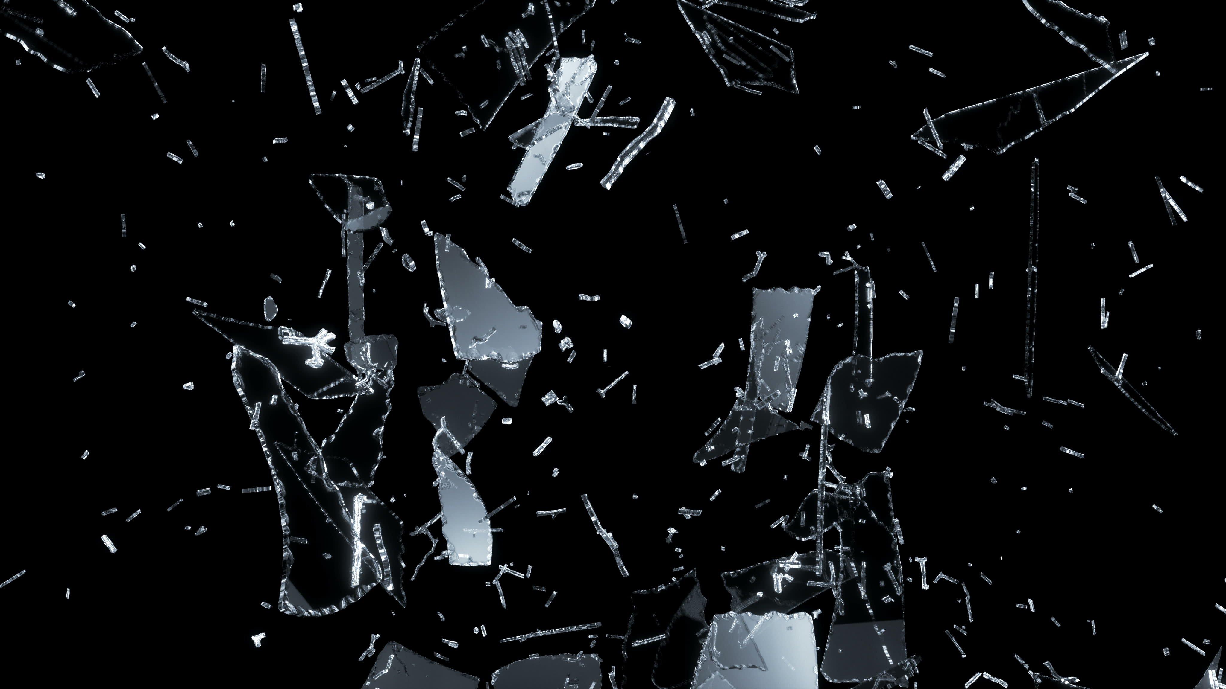 Fondos de pantalla Explosión vidrios roto fondo negro