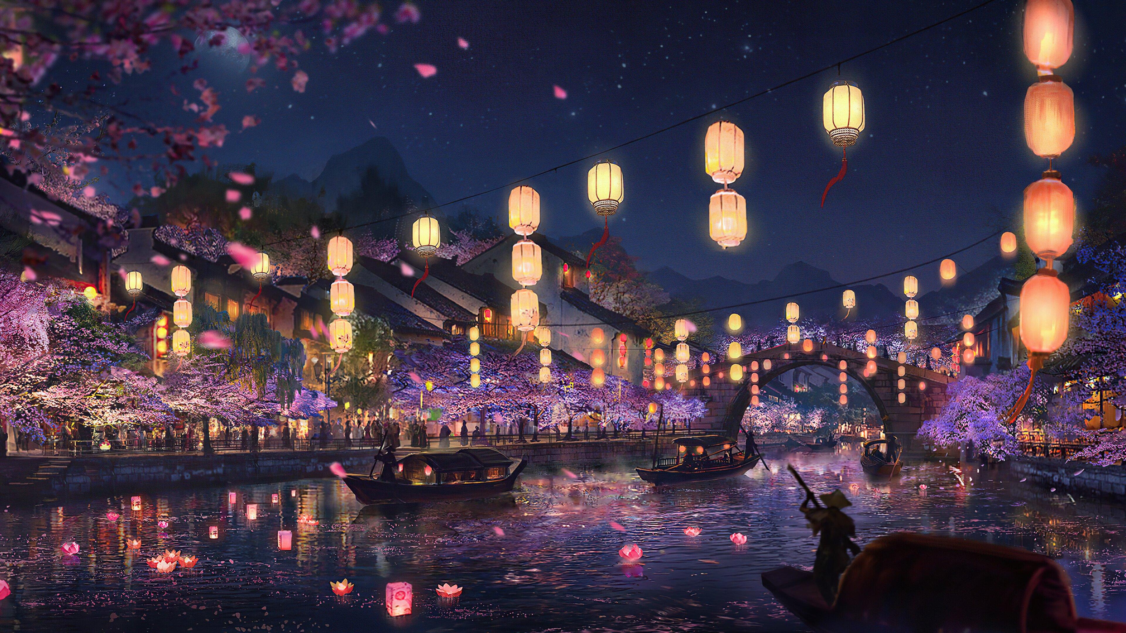 Wallpaper Light Festival at river Digital Art