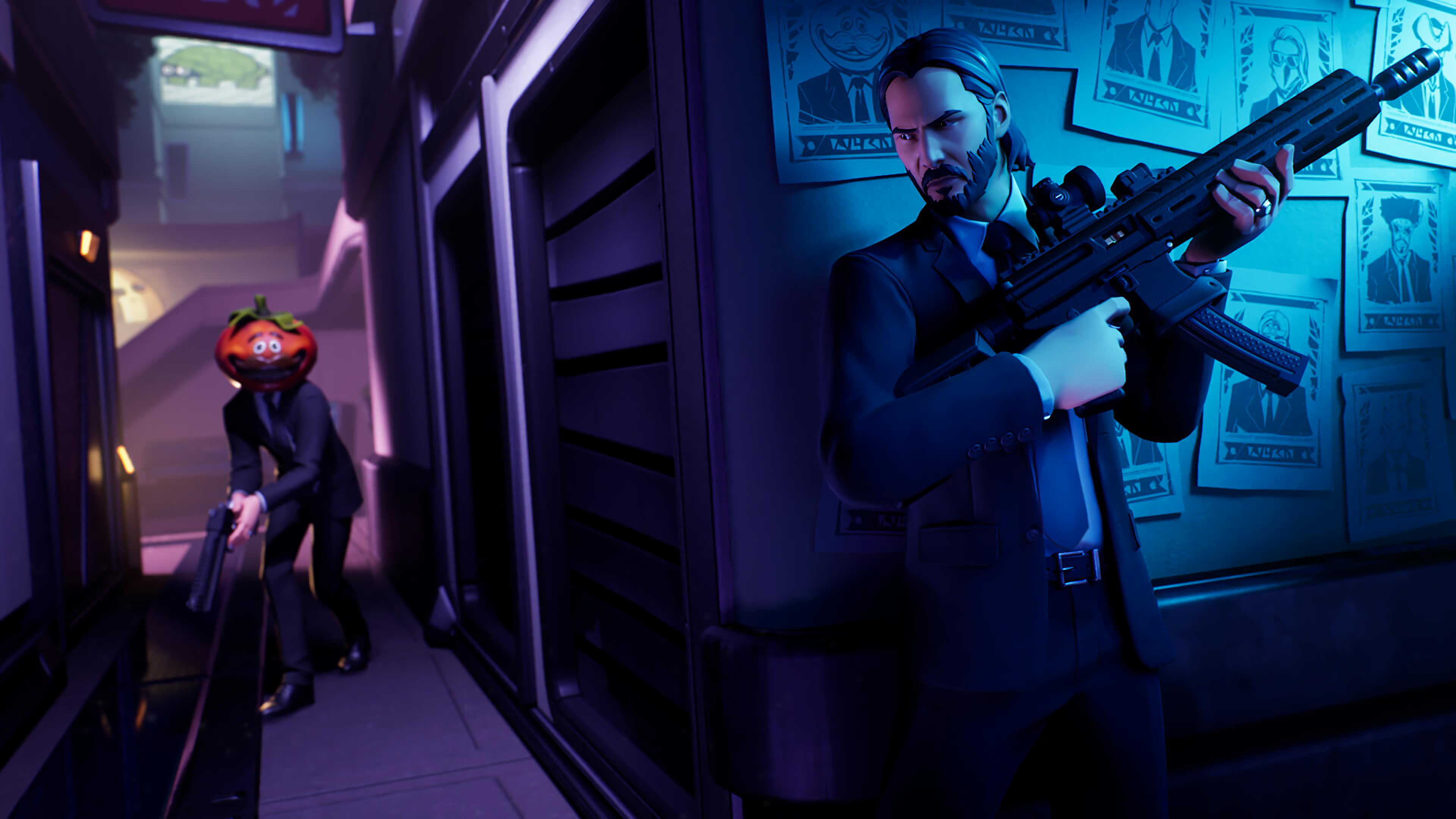 Wallpaper Fortnite John Wick
