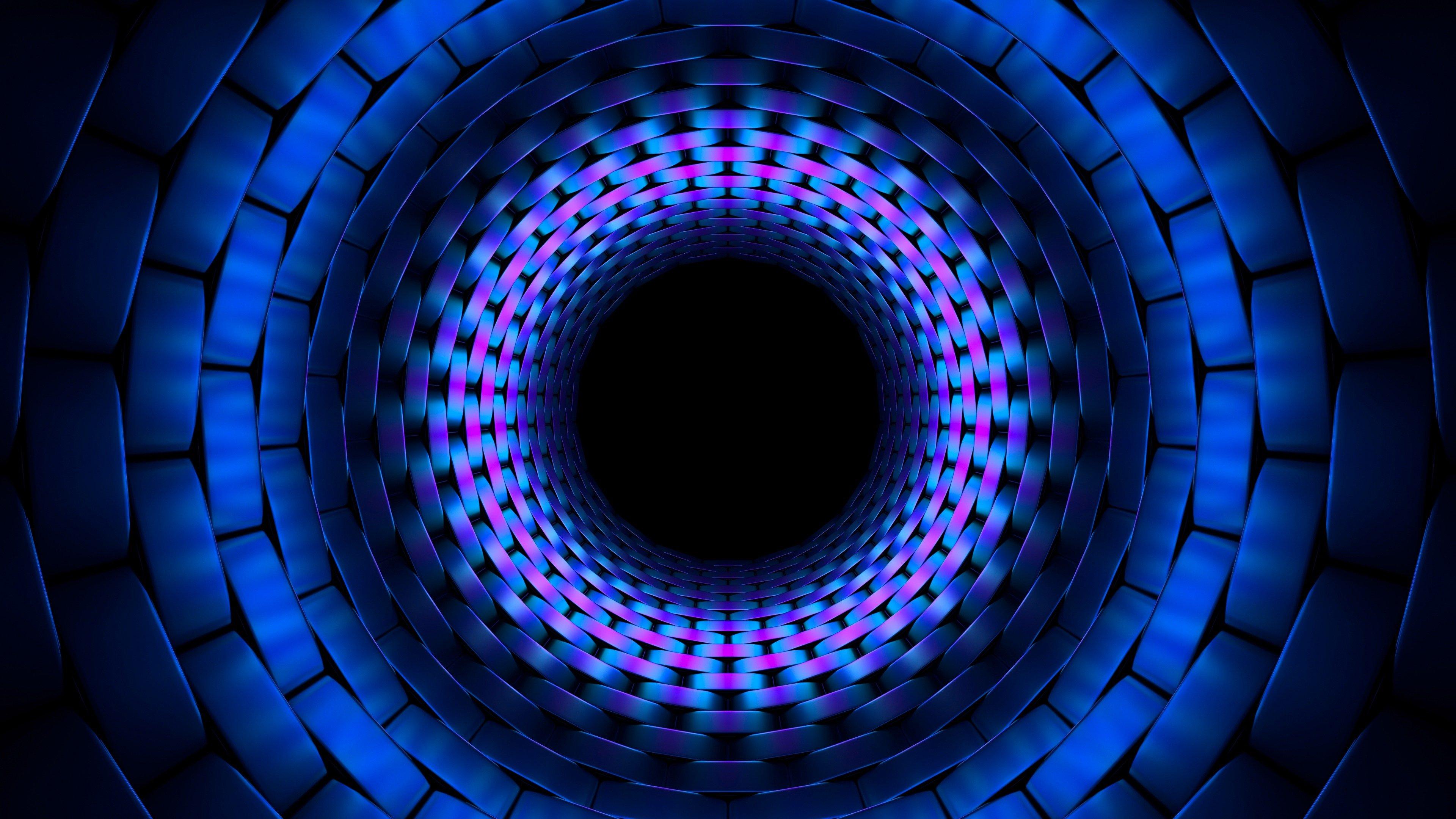 Fondos de pantalla Fractal de círculo en tunel azul 3D