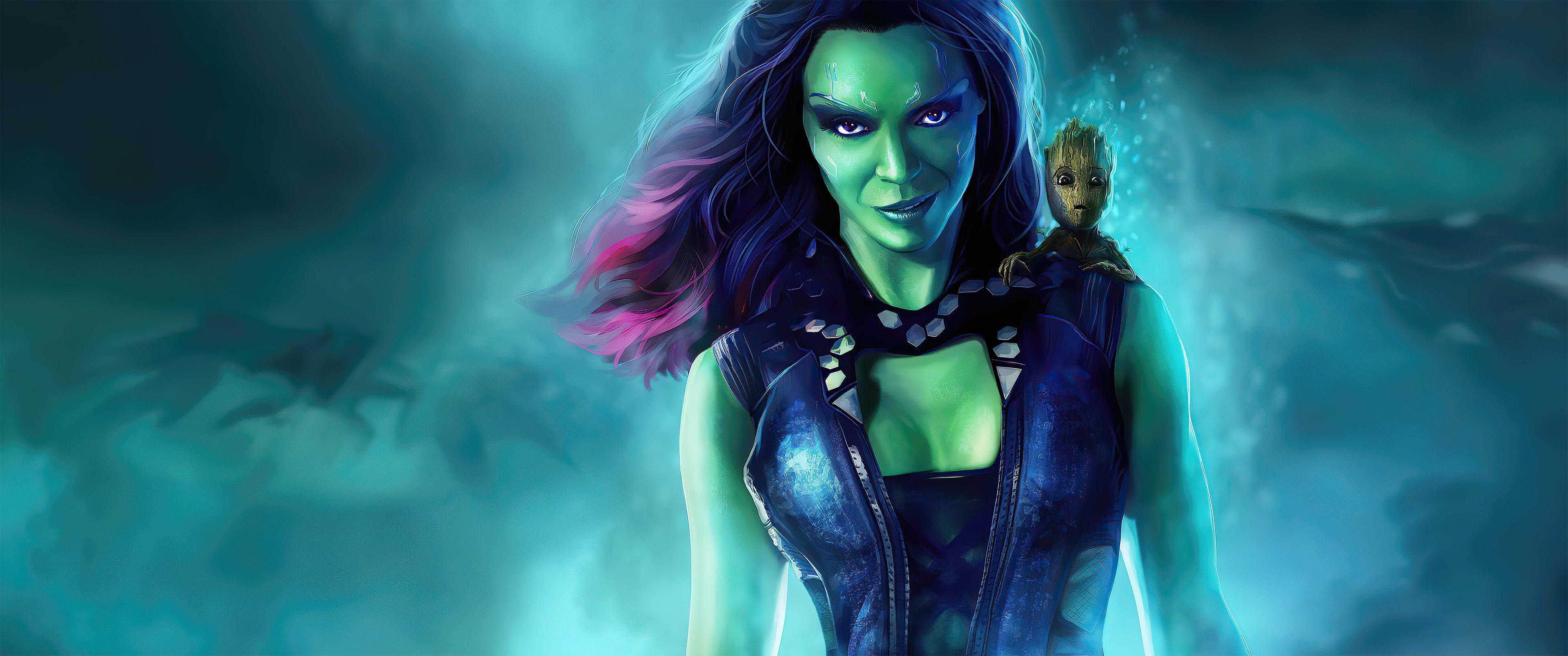 Fondos de pantalla Gamora con Groot bebé de Guardianes de la Galaxia