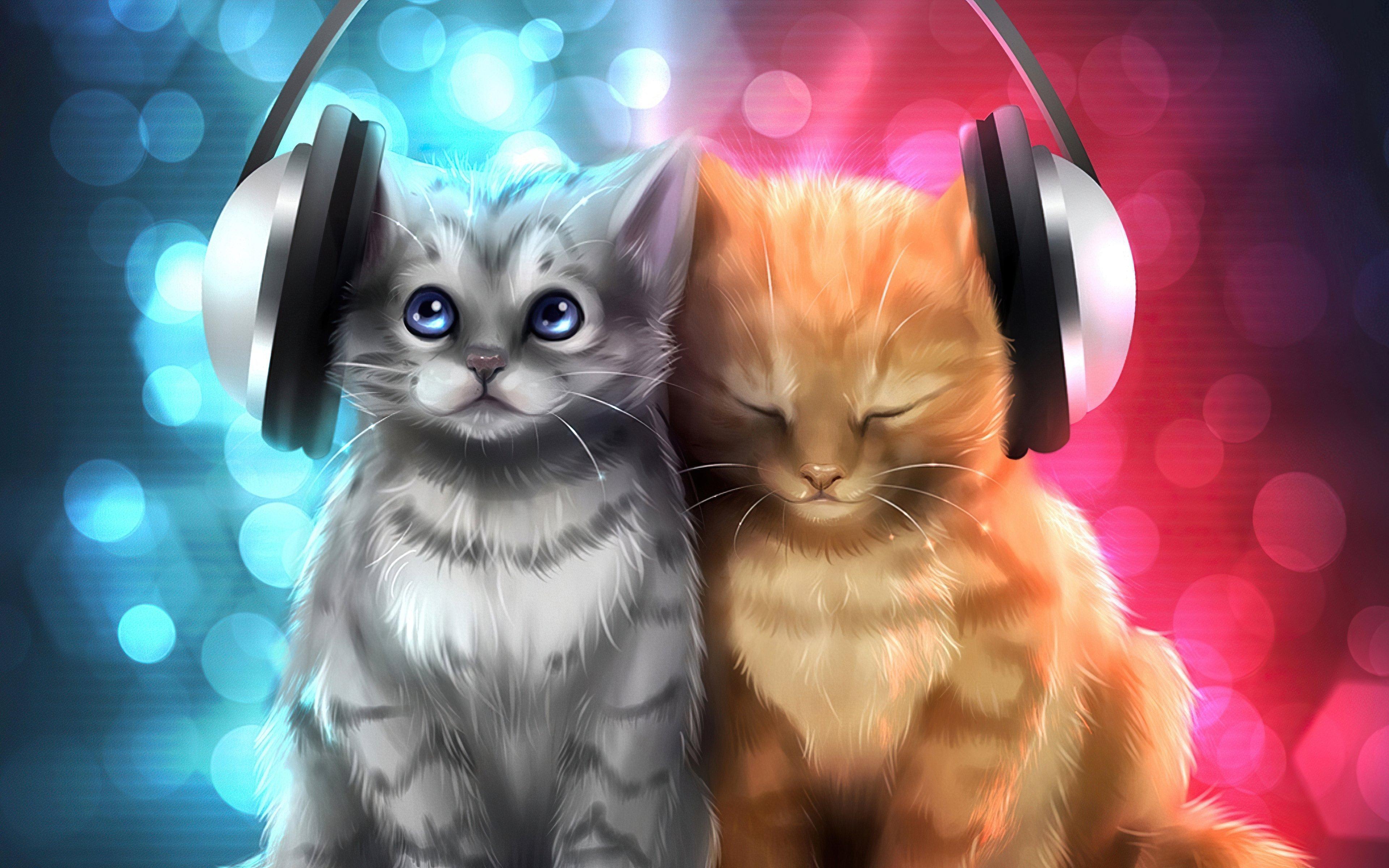 Fondos de pantalla Gatitos escuchando música