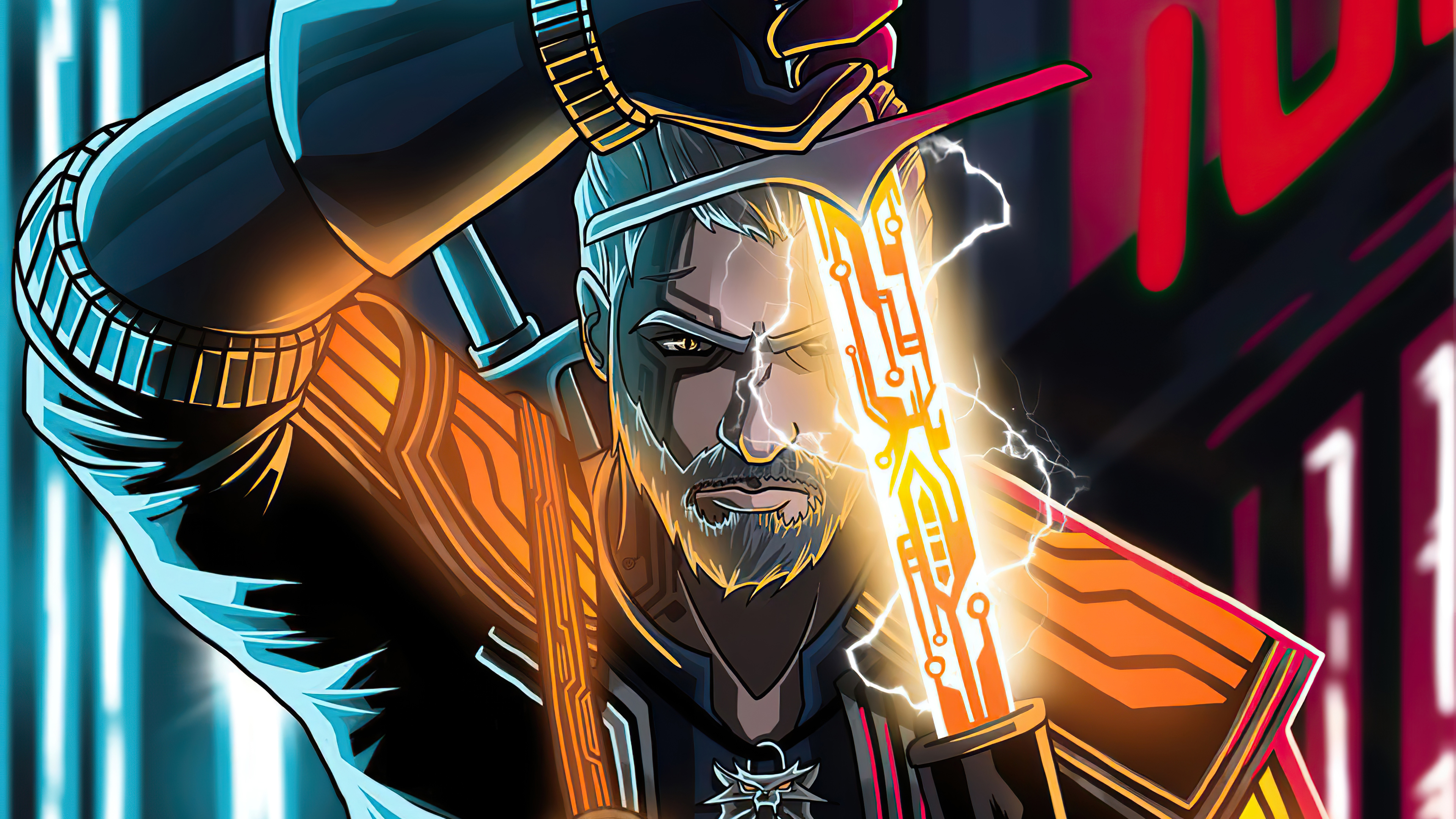 Fondos de pantalla Geralt de Rivia estilo Cyberpunk 2077