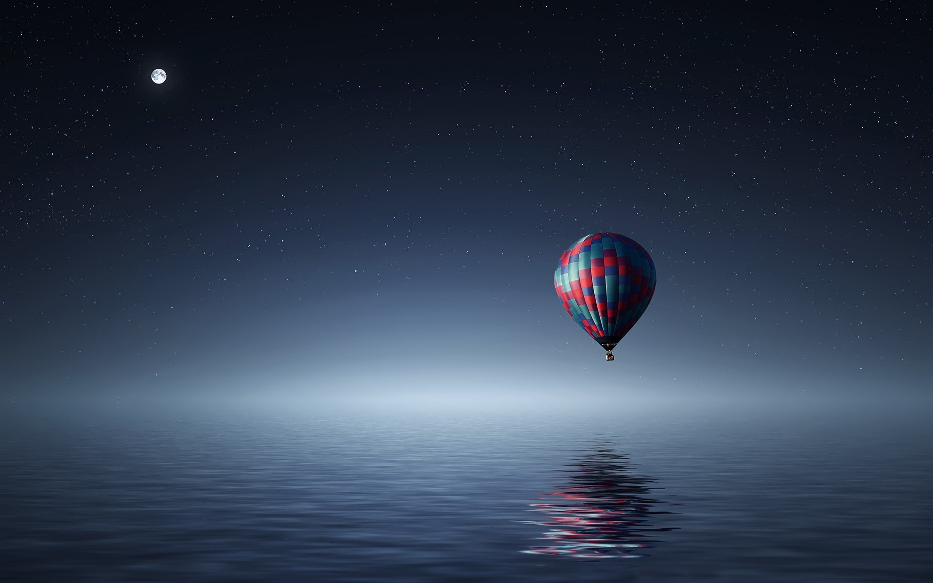 Wallpaper Hot air balloon in nothingness