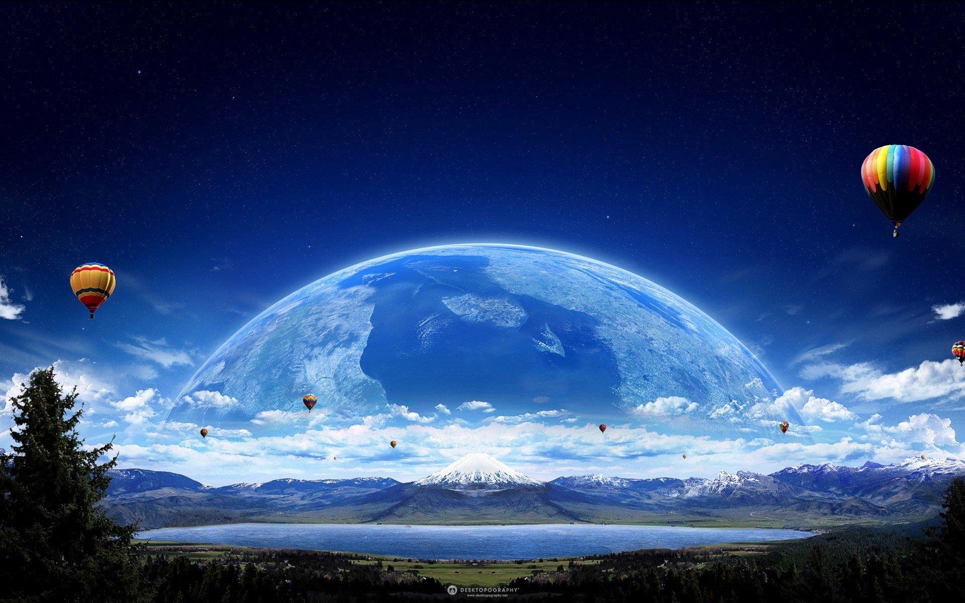 Fondo de pantalla de Globo aerostático y un planeta Imágenes