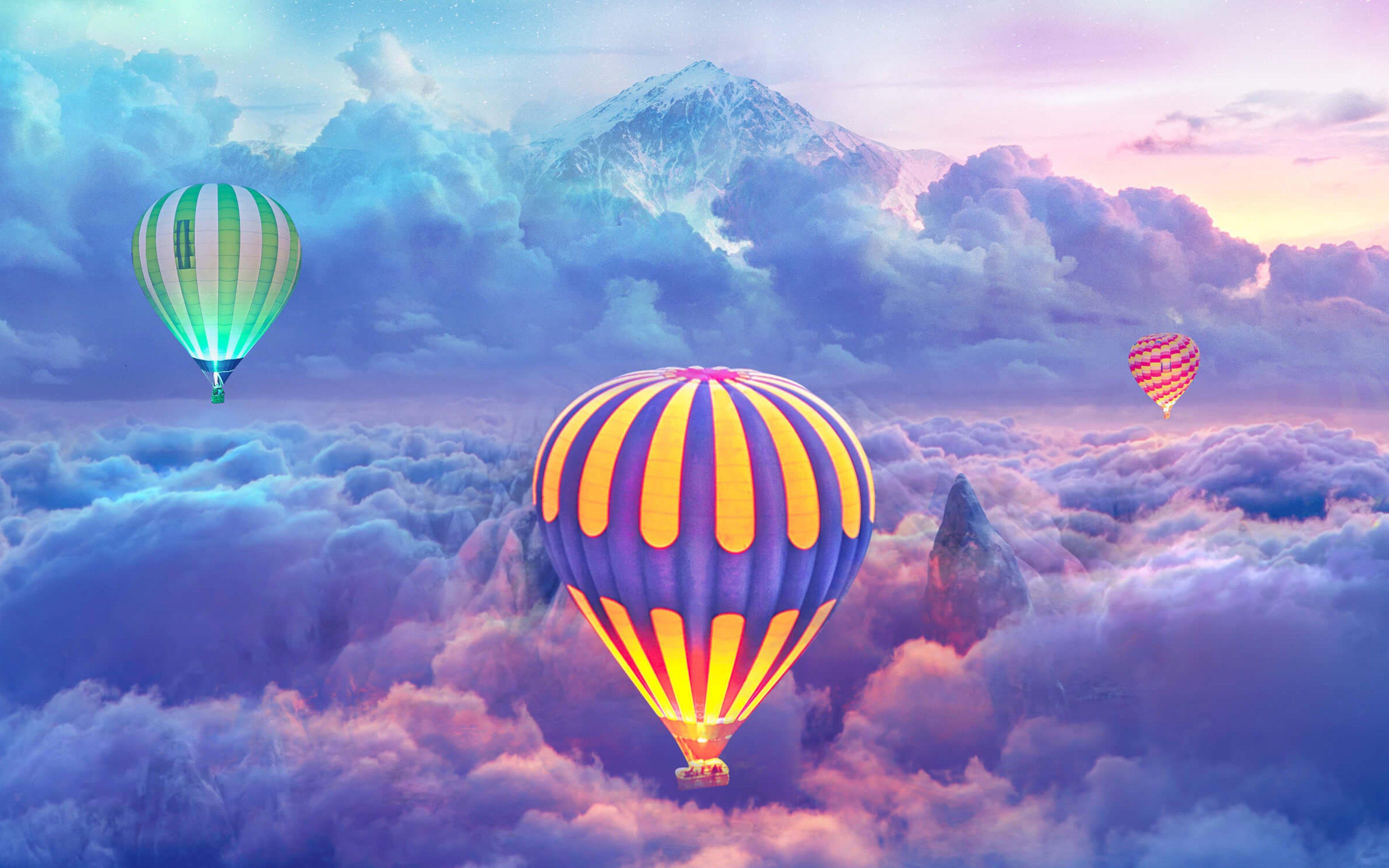 Fondos de pantalla Globos aerostáticos sobre las nubes