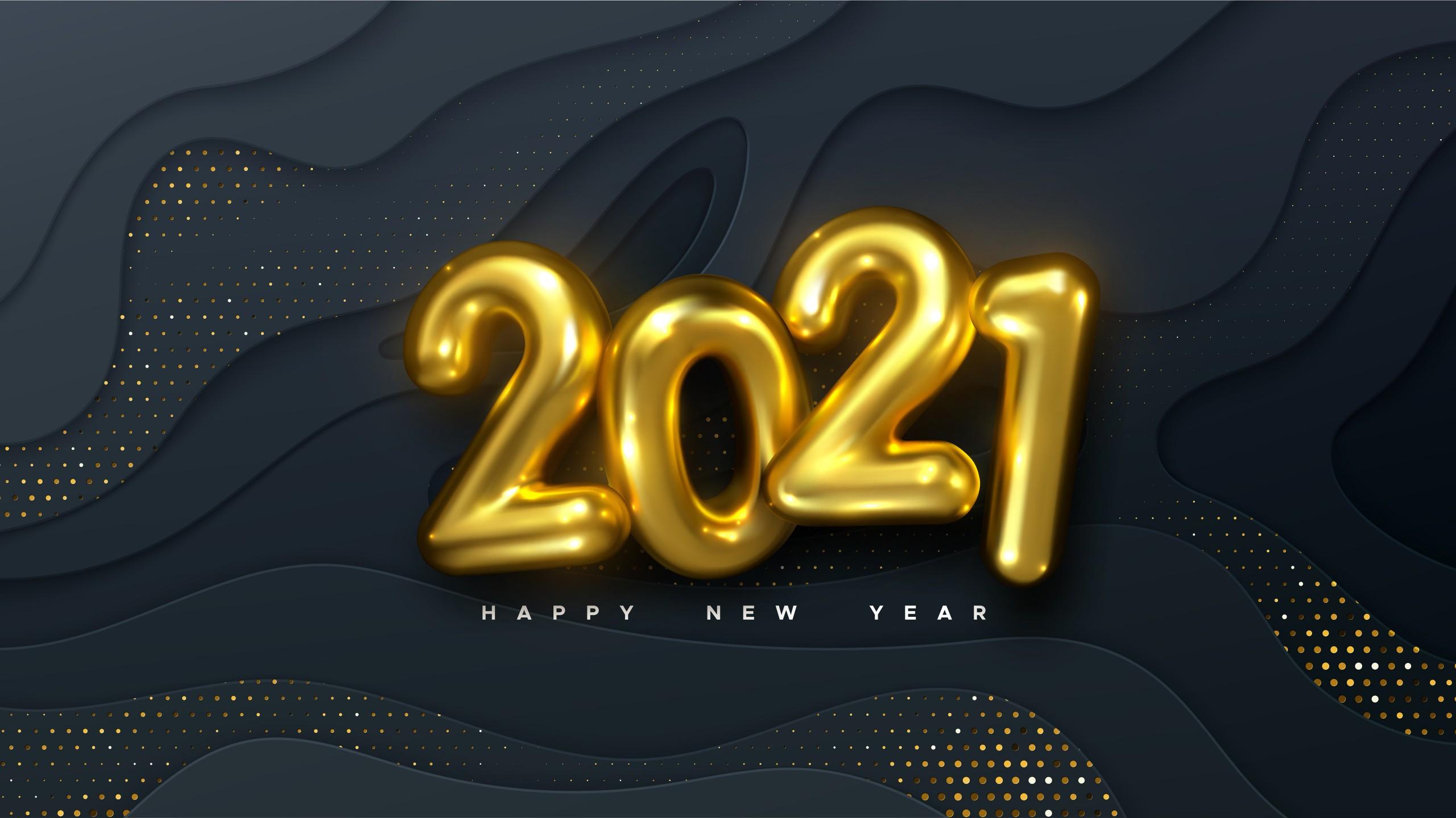 Wallpaper Golden balloons New Year 2021
