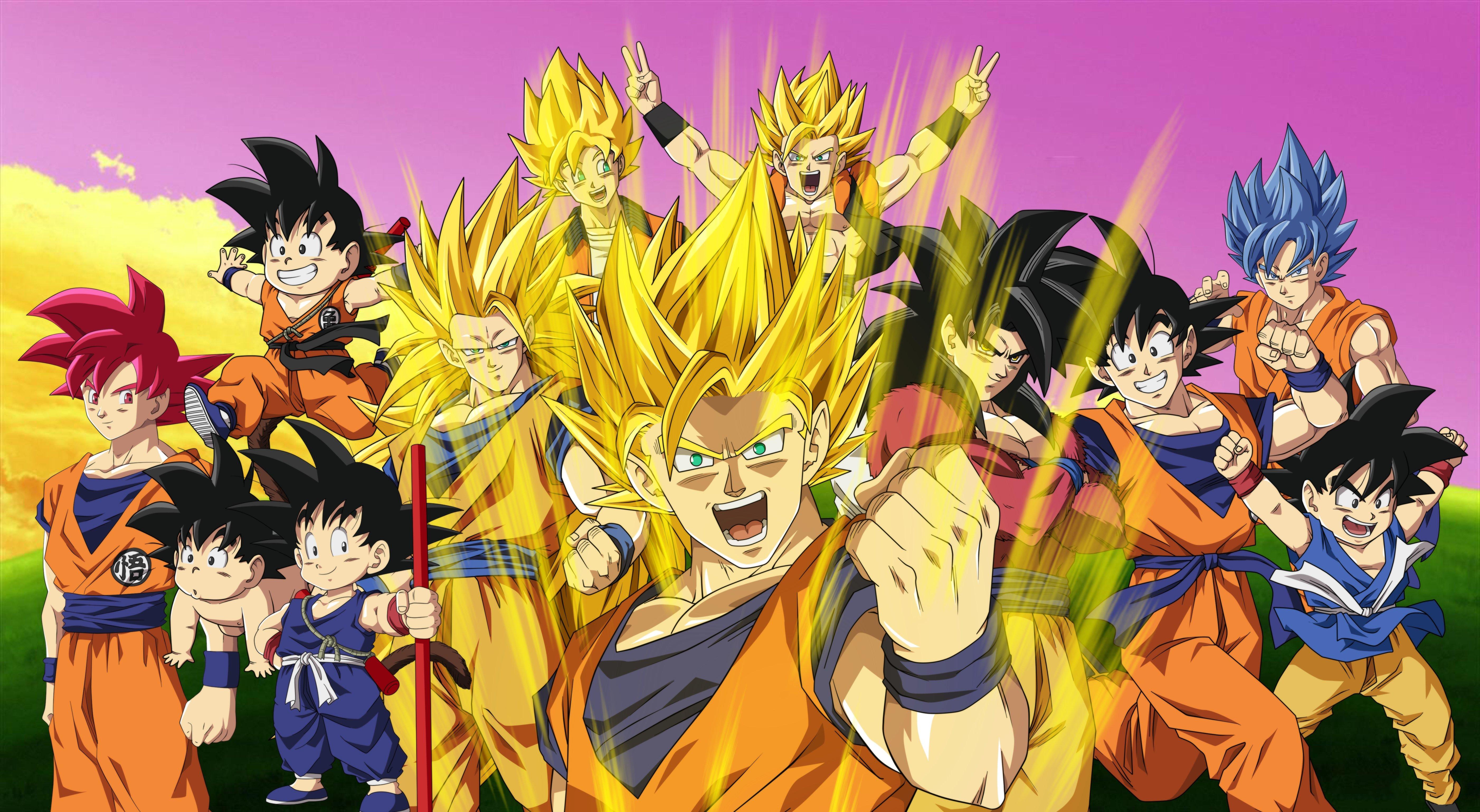 Fondos de pantalla Goku en todas las fases Super saiyajin