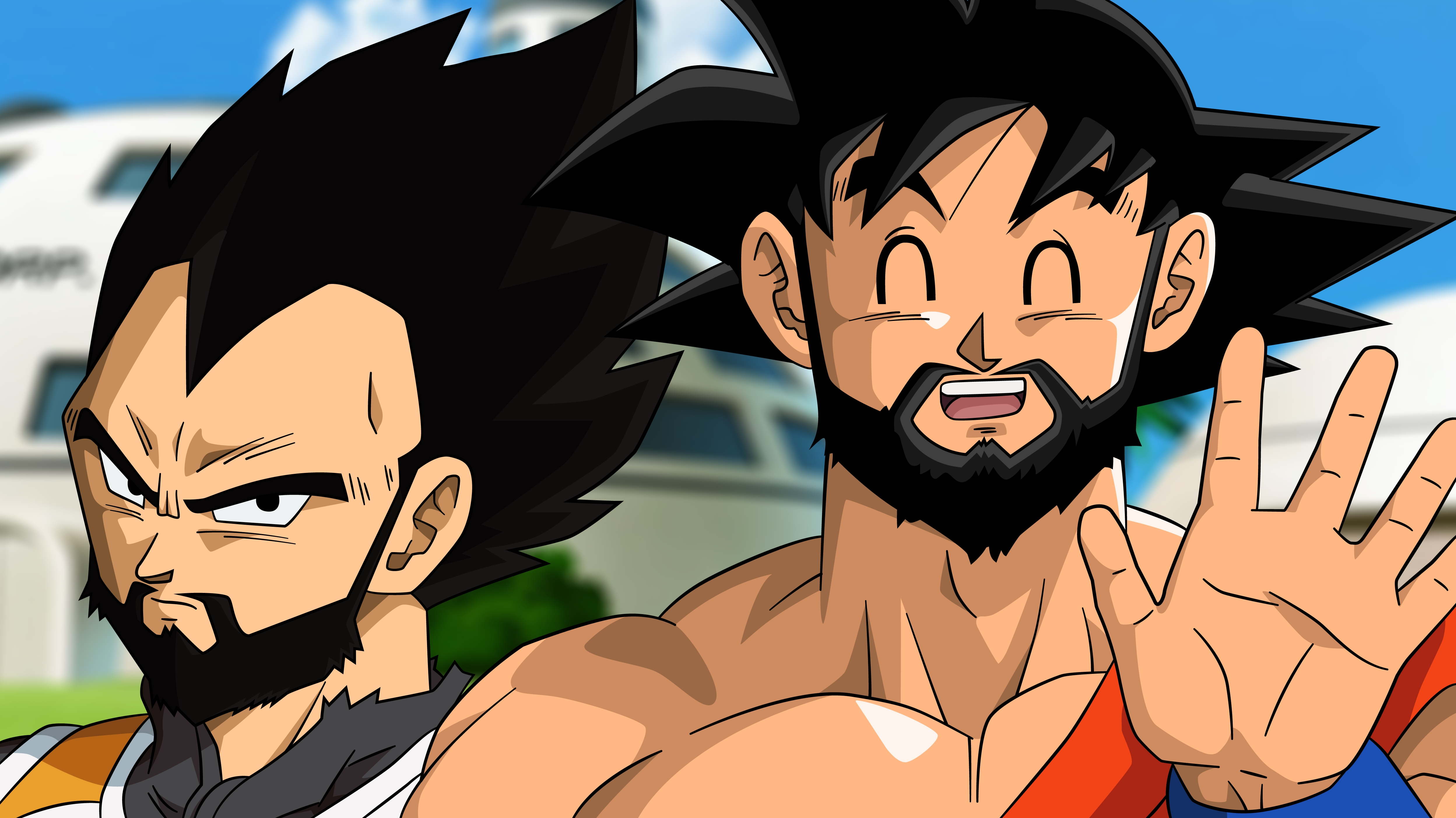 Fondos de pantalla Anime Goku Vegeta con barba Dragon Ball