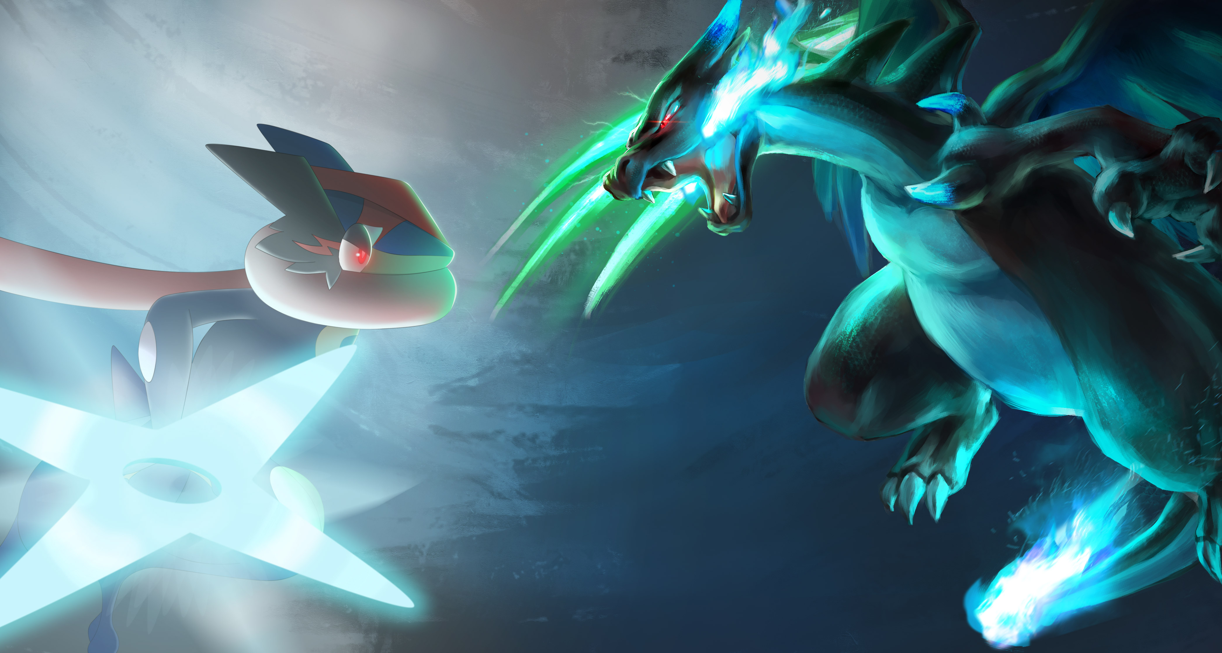 Anime Wallpaper Greninja ash vs Mega Charizard