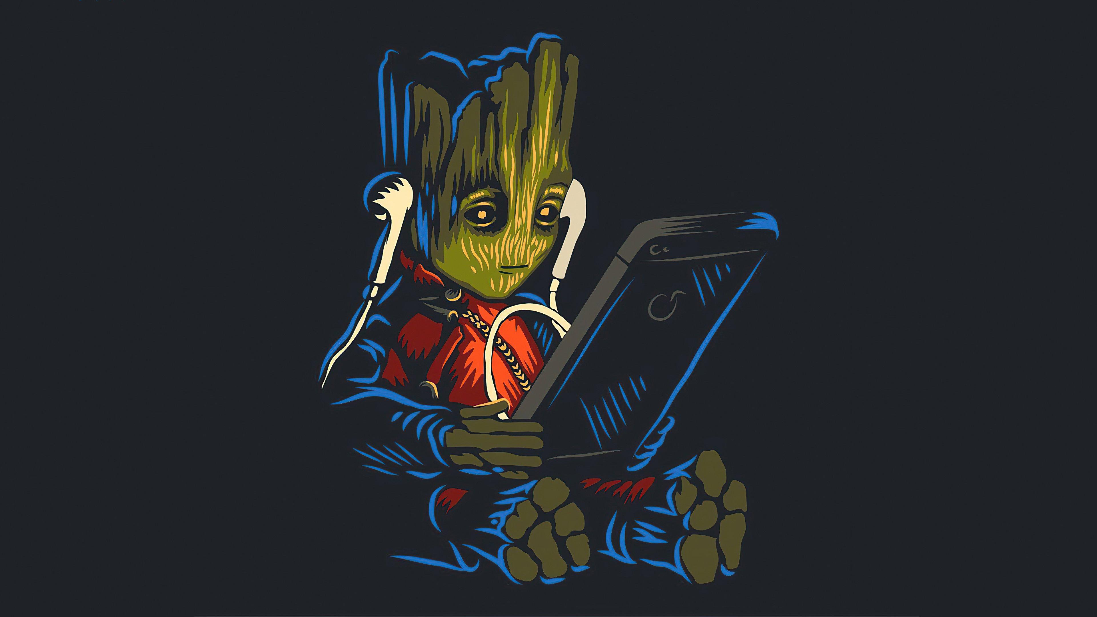Fondos de pantalla Groot bebé escuchando música