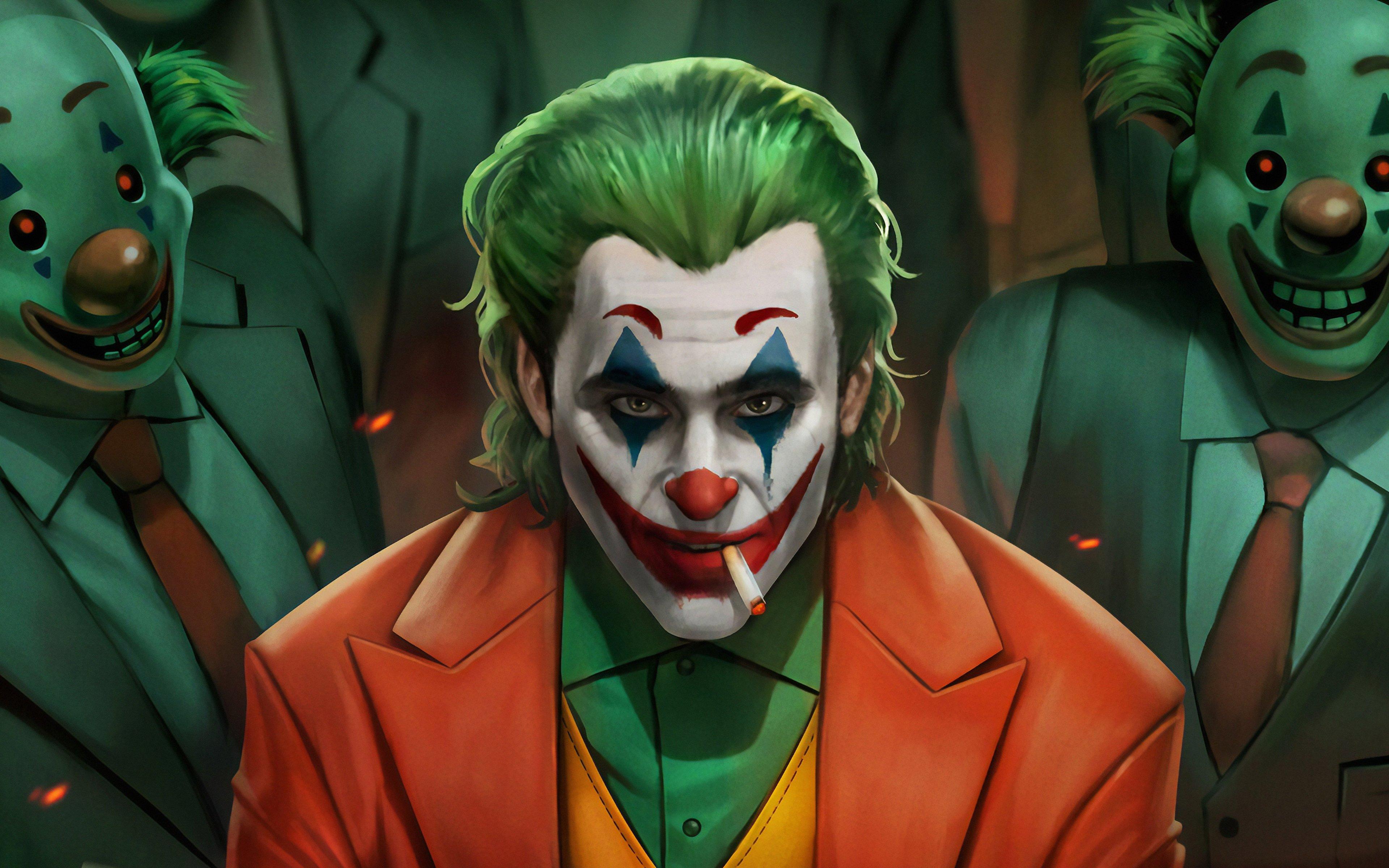 Wallpaper Joker with clowns Fanart