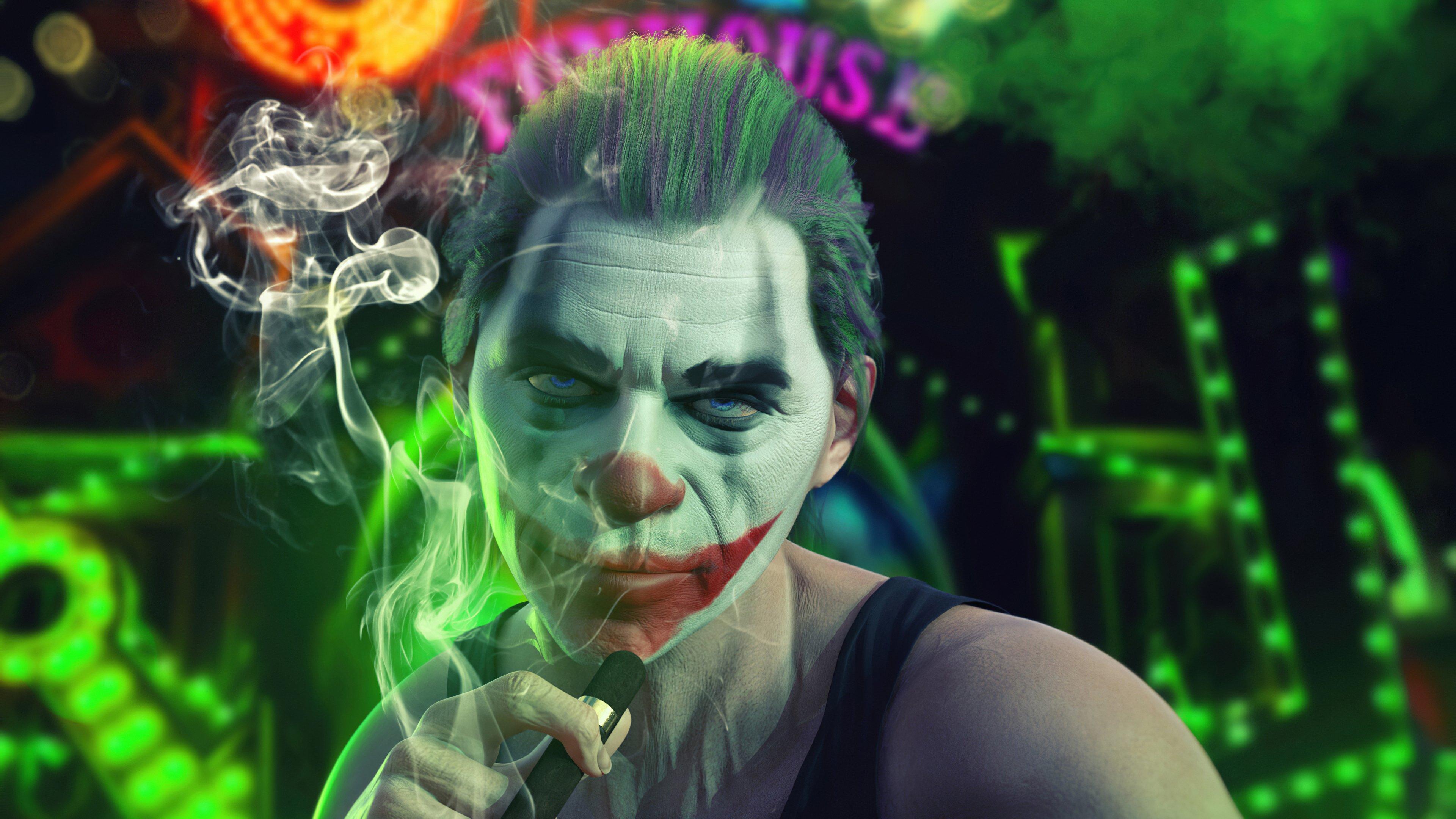 Wallpaper Joker smoking