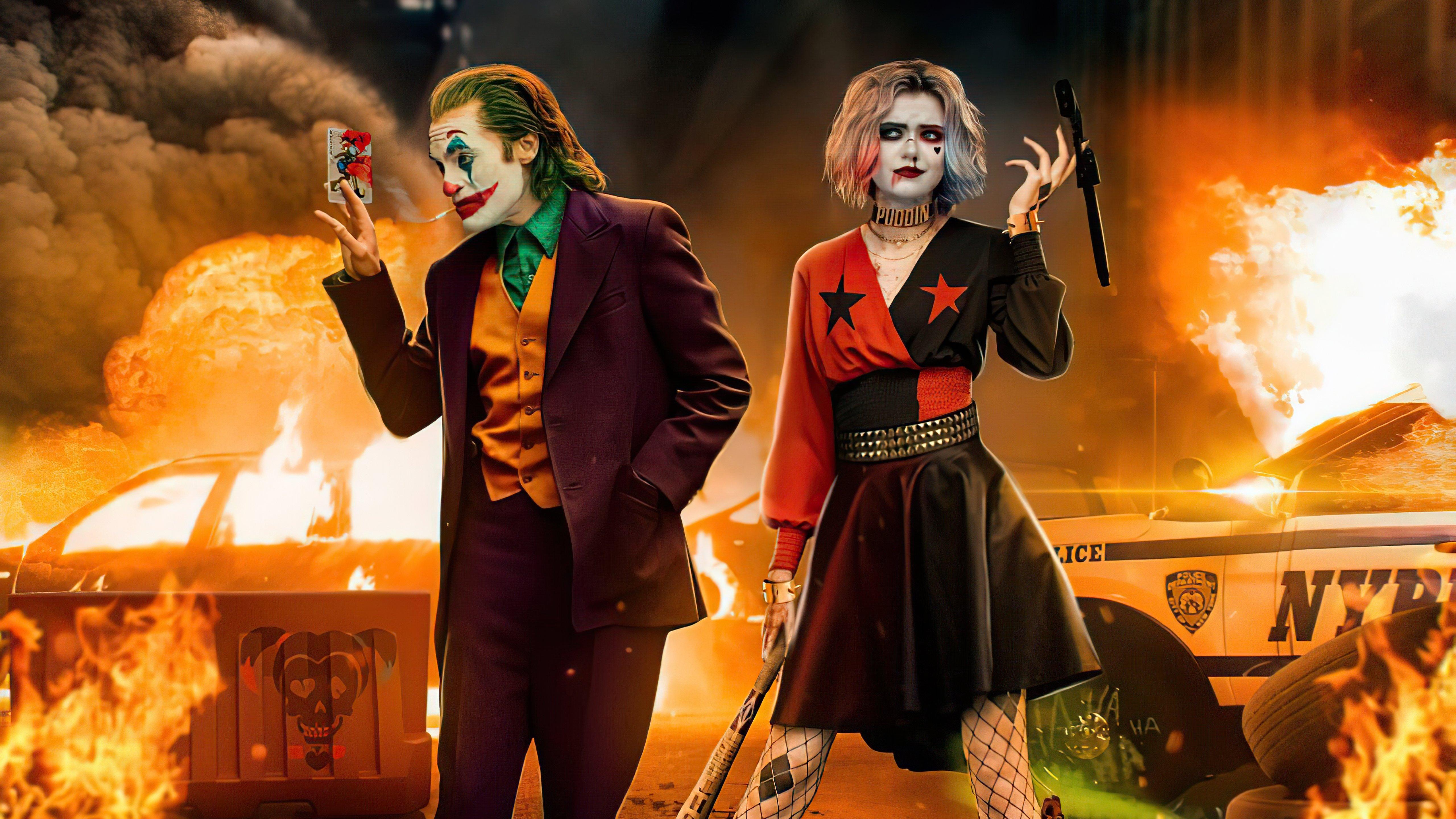 Fondos de pantalla Guasón y Harley Queen en escena del crimen