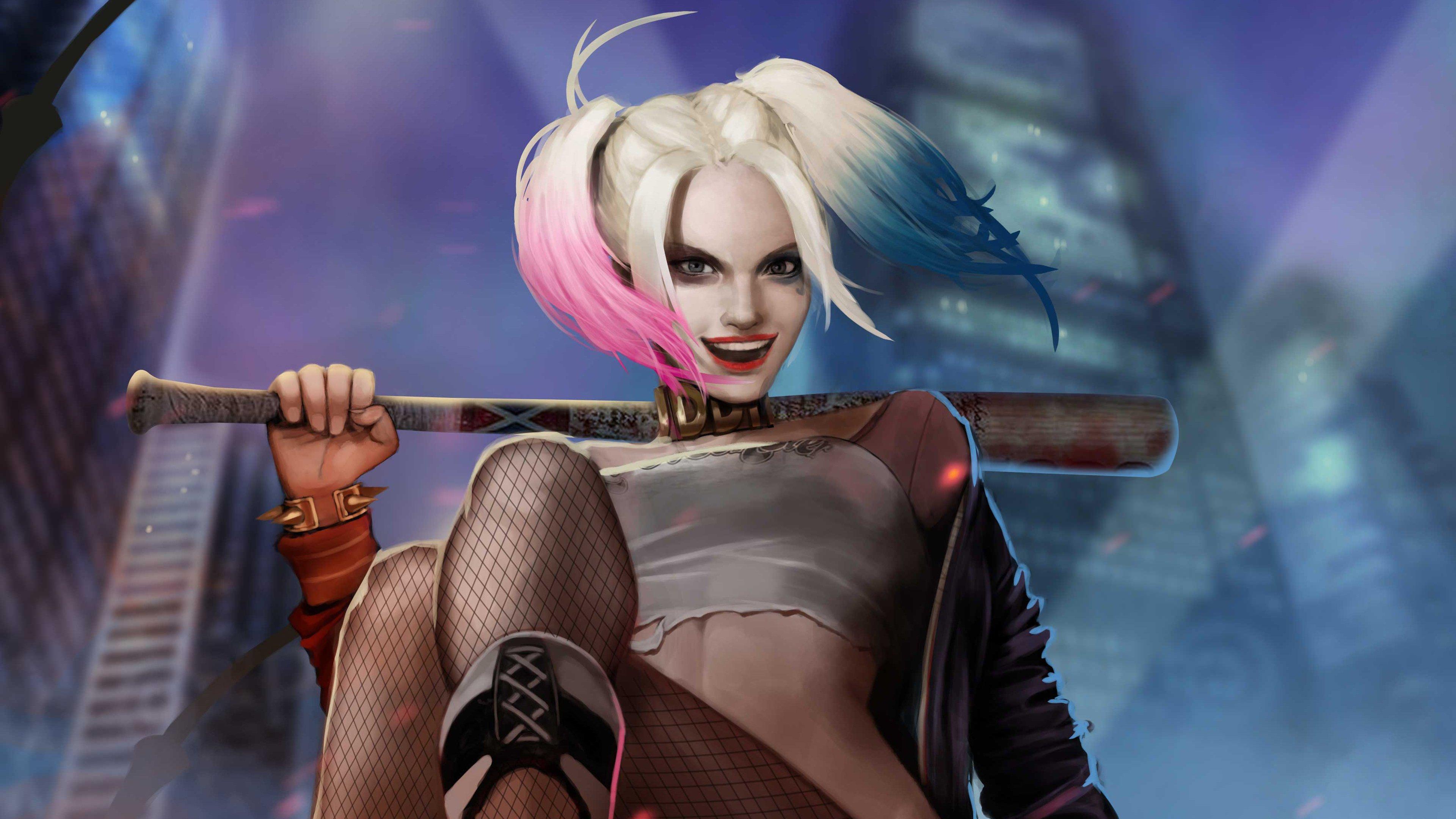 Fondos de pantalla Harley Quinn con bate en ciudadFanart