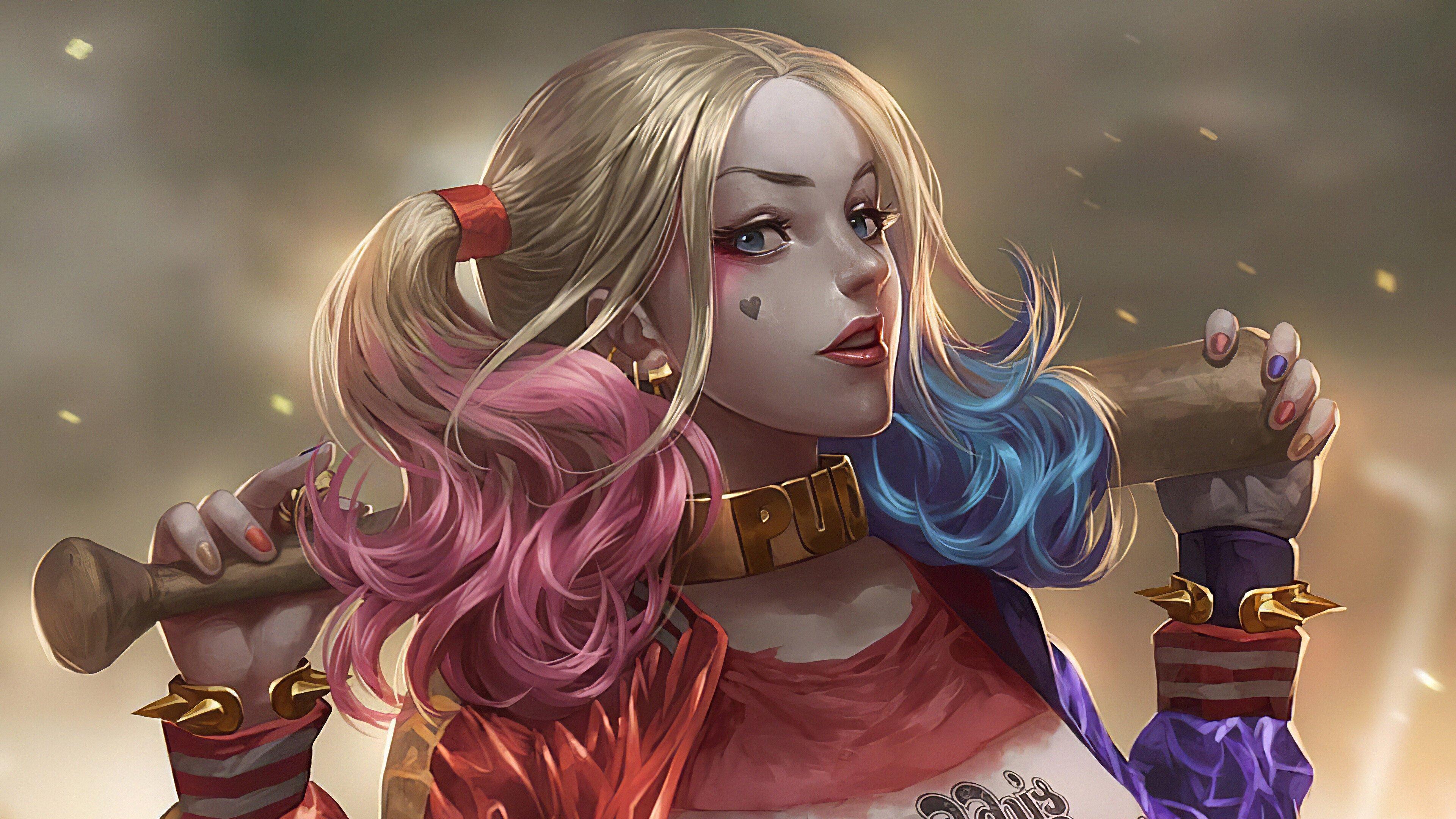 Wallpaper Harley Quinn with bat Fanart