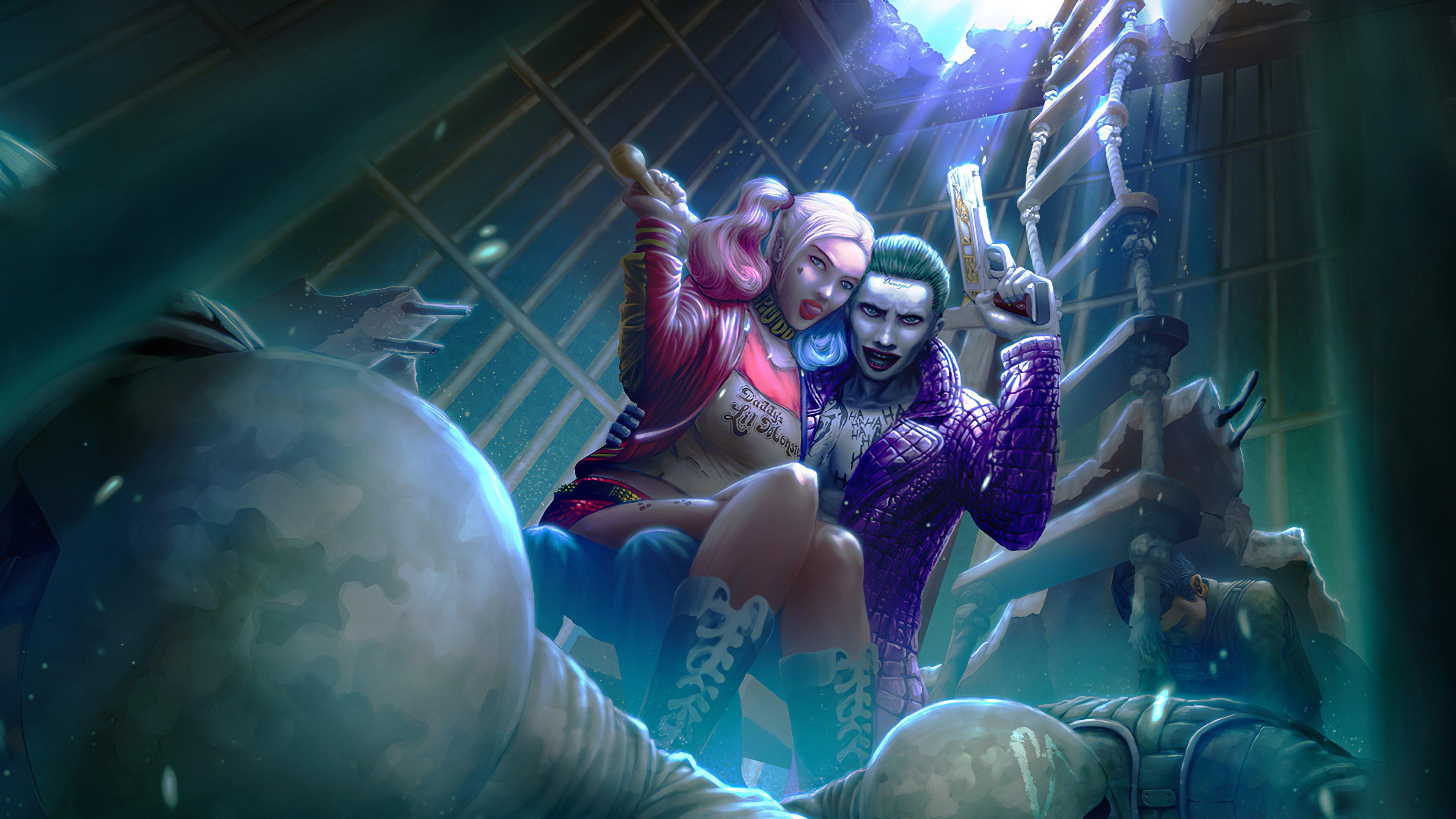 Wallpaper Harley Quinn and Joker