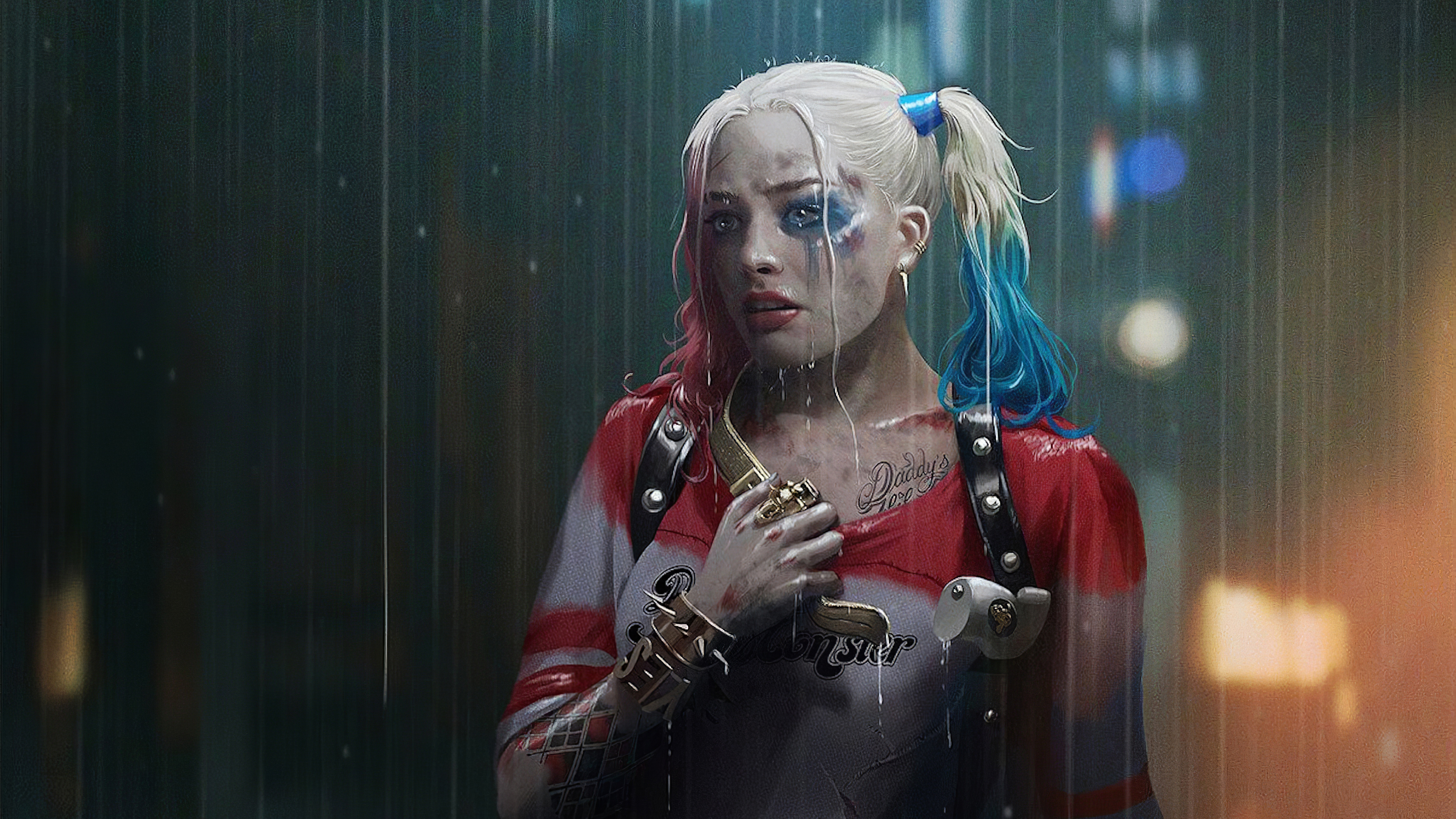 Wallpaper Harley Quinn in the rain