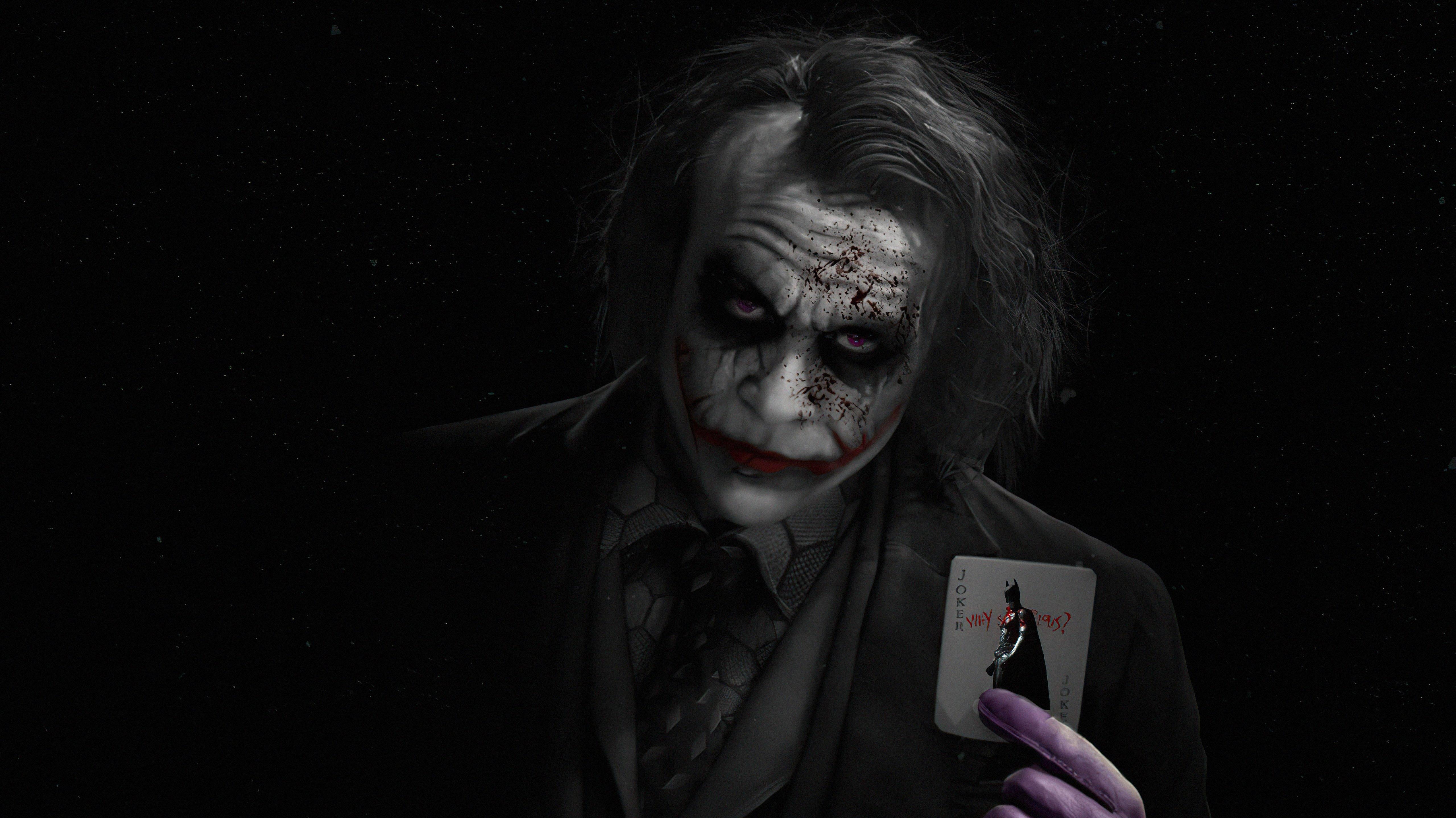 Wallpaper Heath Ledger as Joker with card