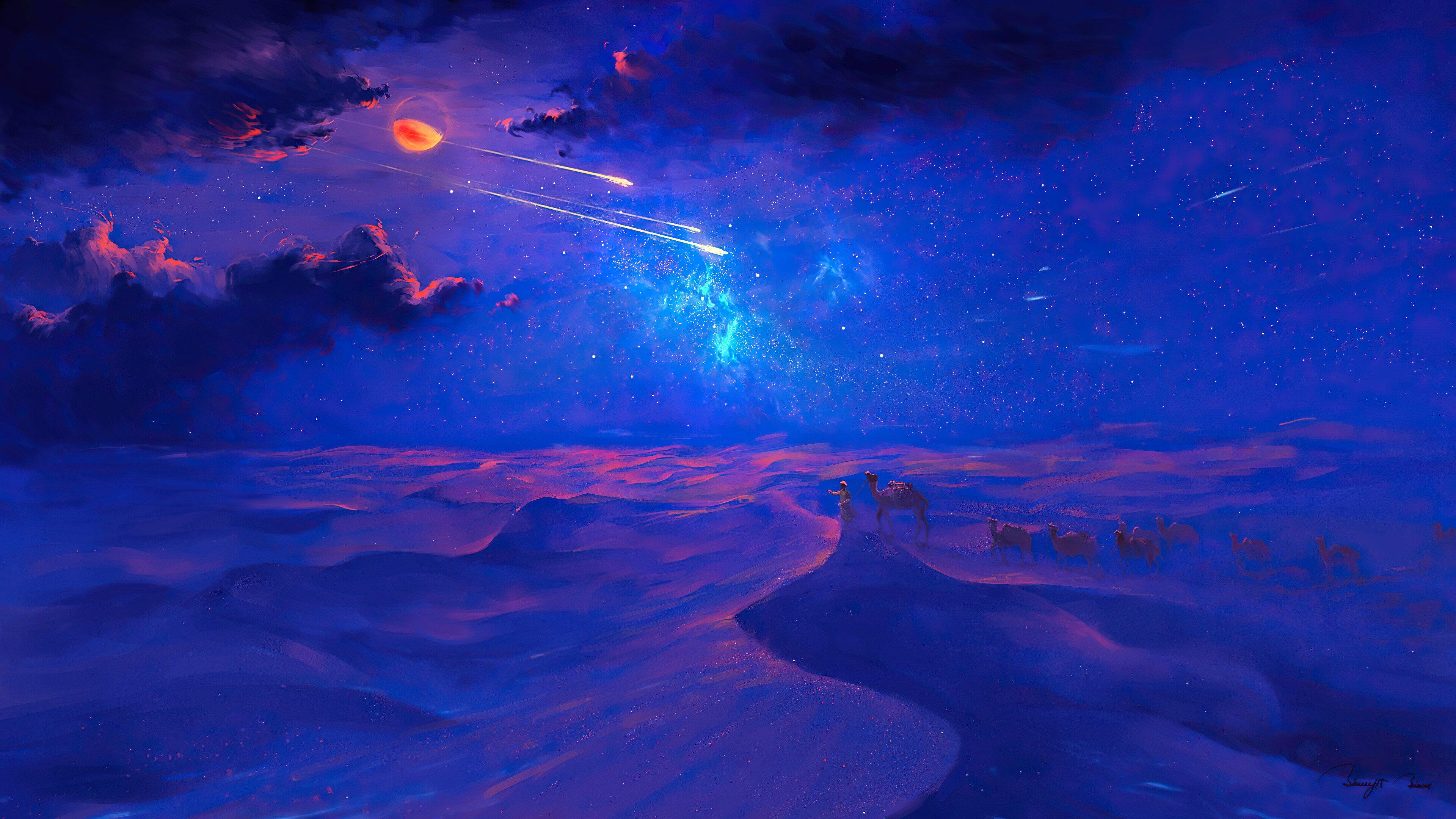 Fondos de pantalla Hermoso desierto en noche estrellada Ilustración